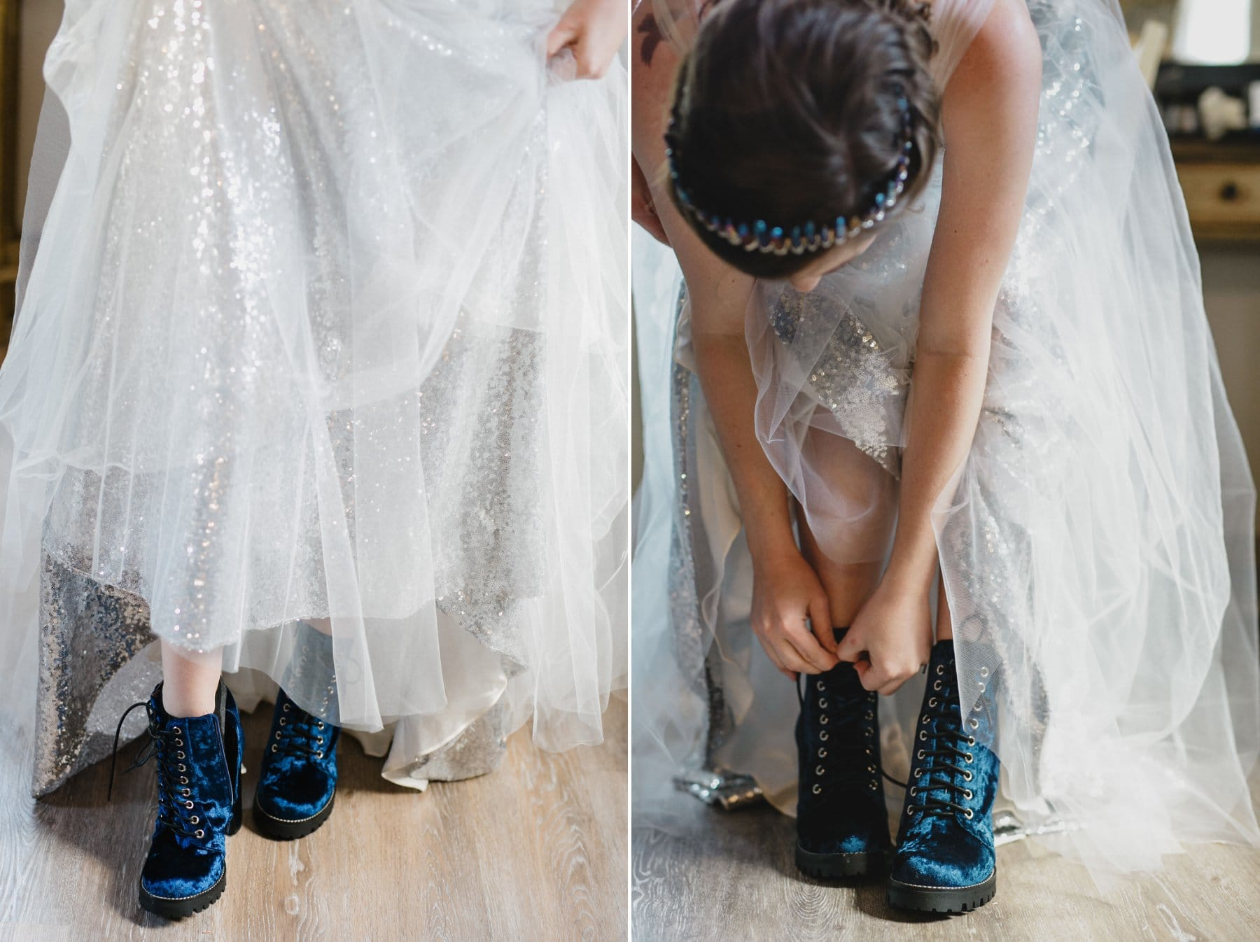 custom silver sequin and tulle dress with blue suede boots wedding gown Phoenix AZ