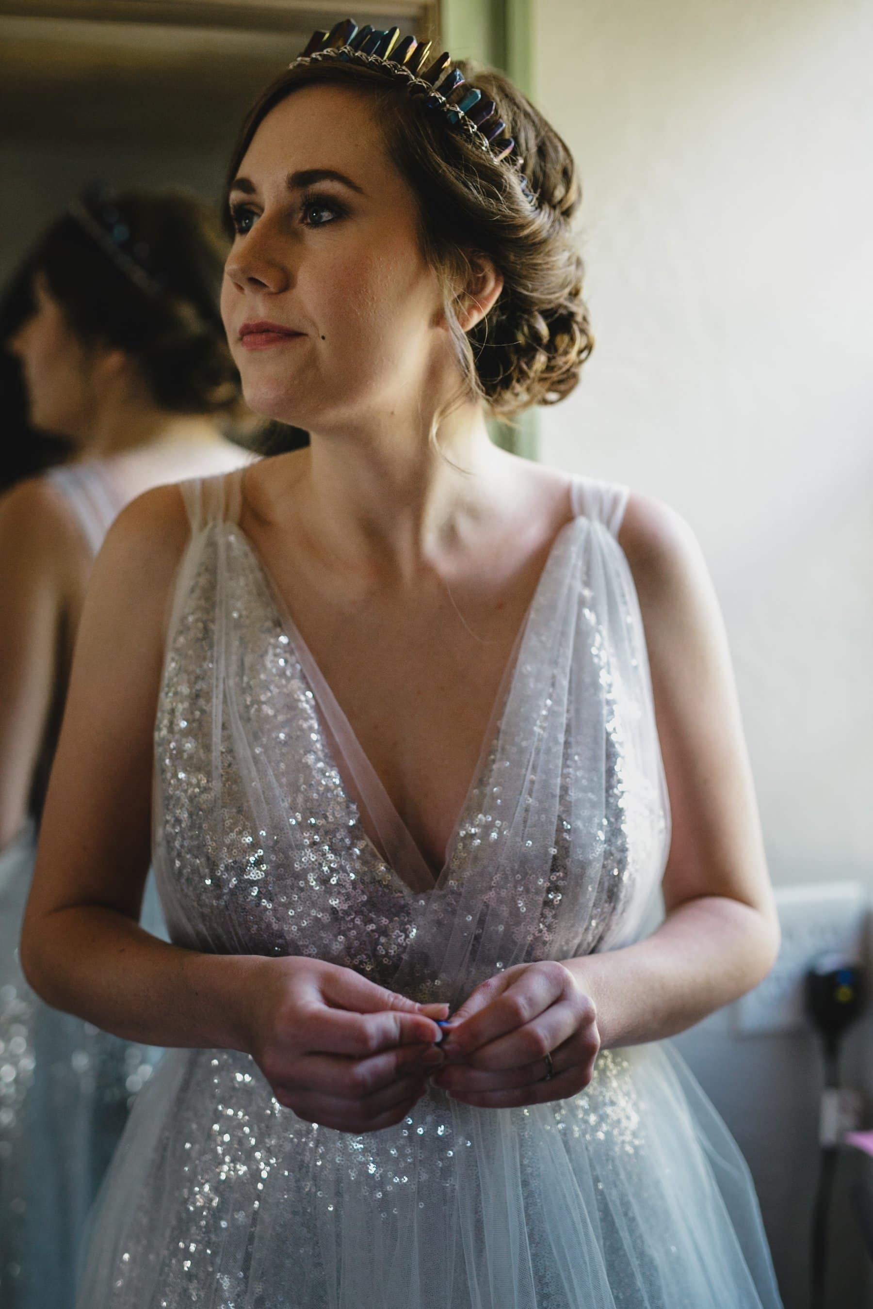 silver sequin wedding gown with tulle overlay