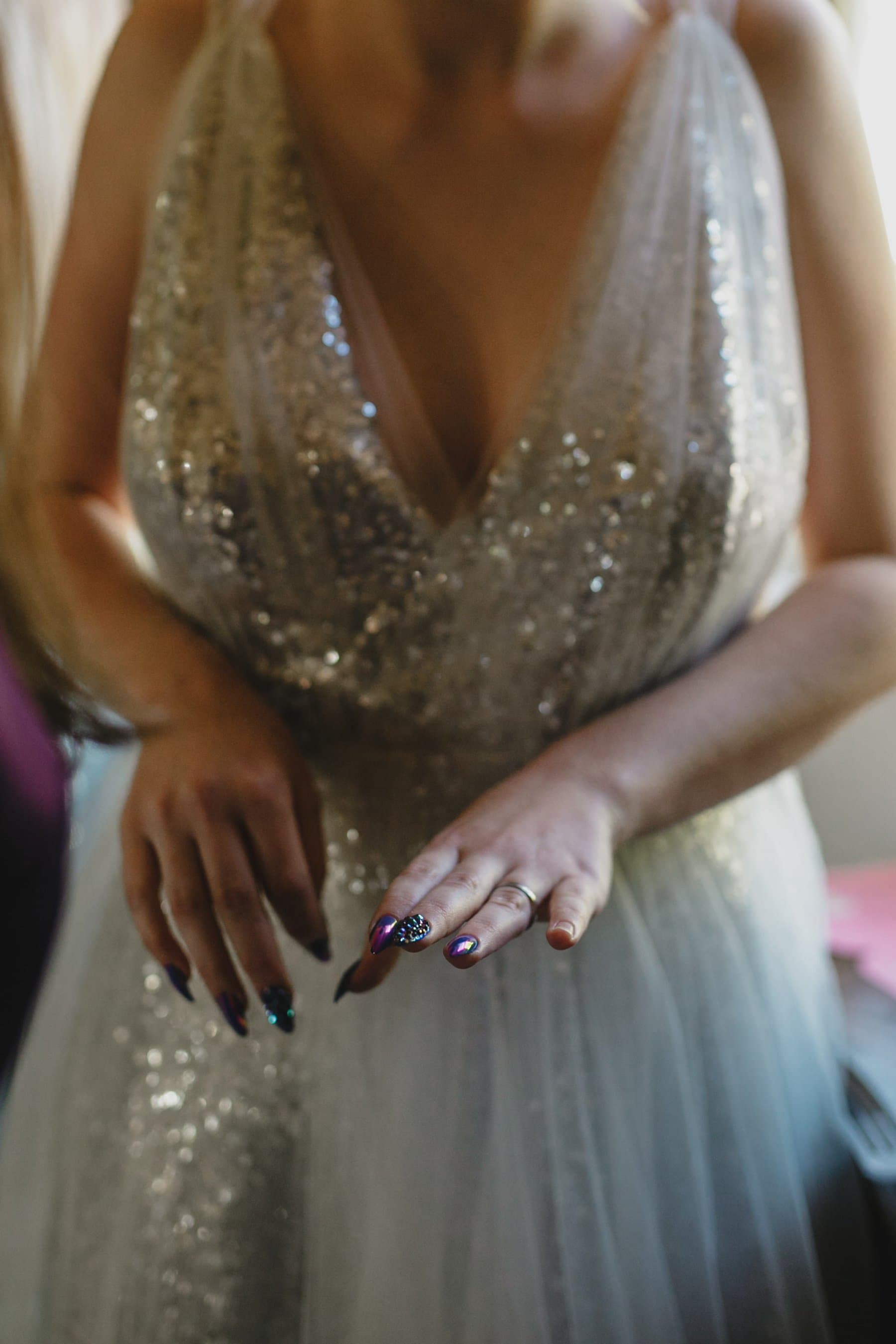 iridescent blue fake nails alternative wedding