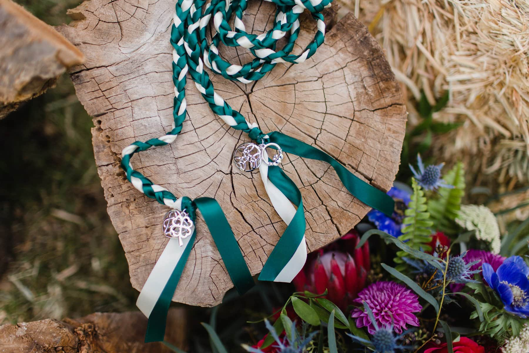 irish handfasting cord with claddagh at Schnepf Farms Meadow wedding