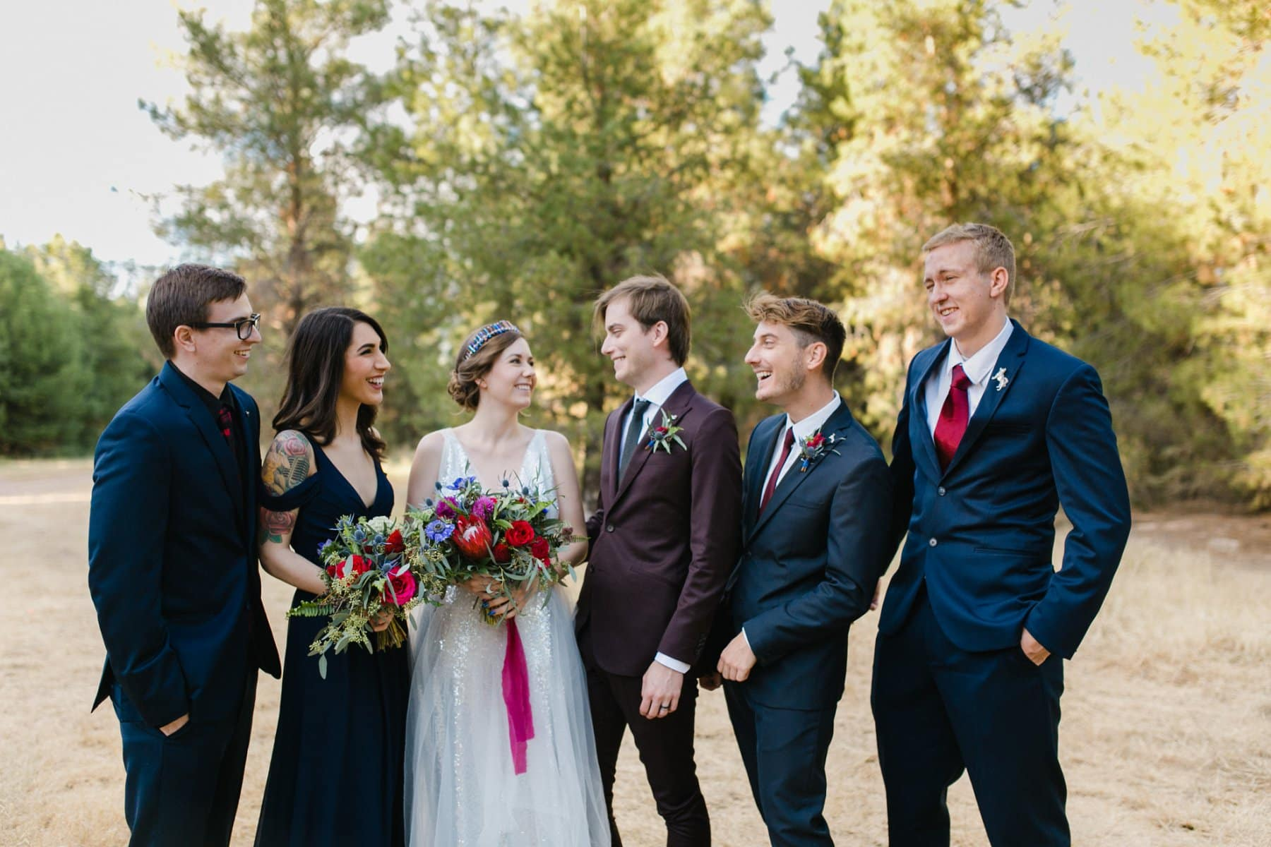 wedding party at the Meadows Schnepf Farms pine tree forest venue