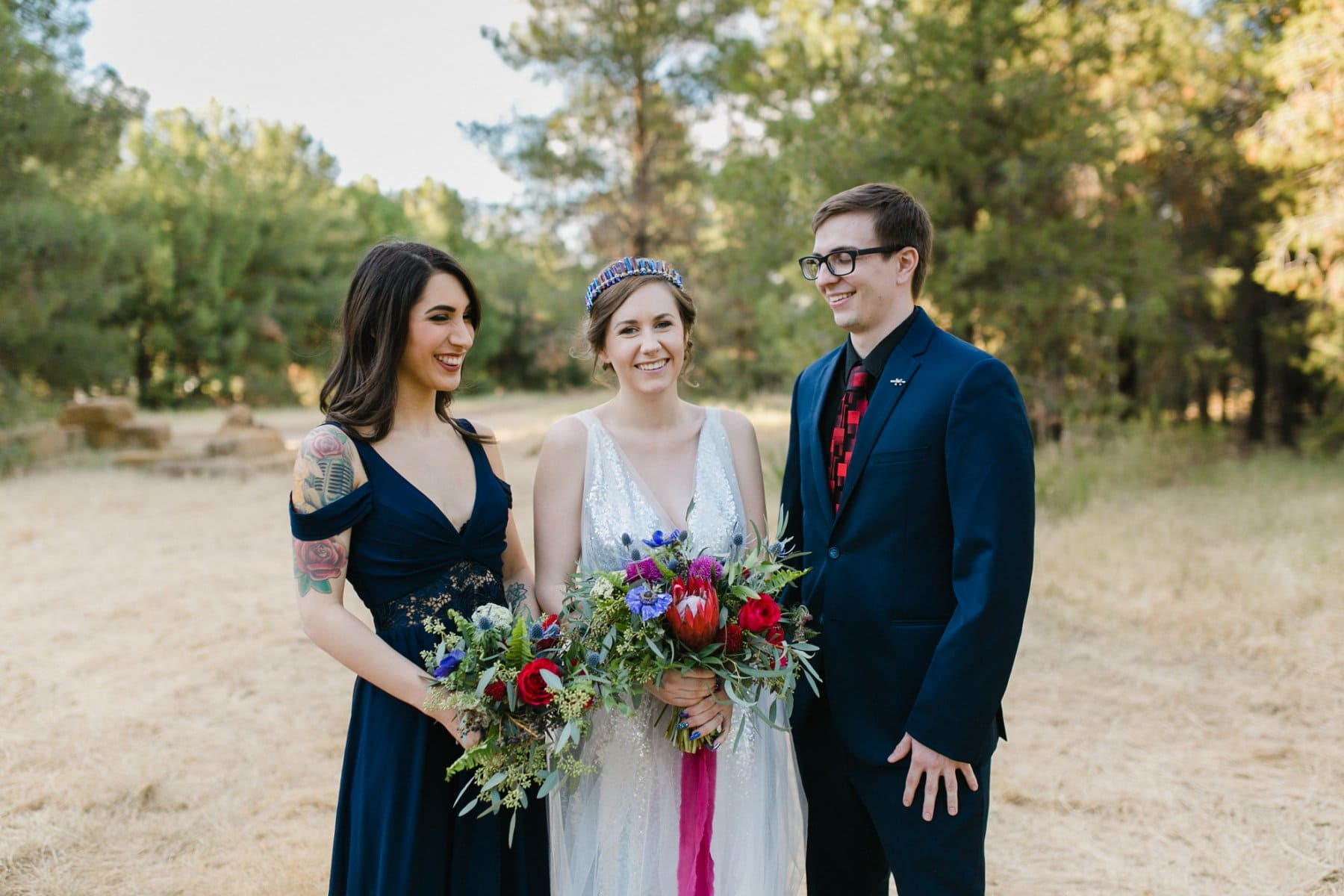 bridal party with one bridesmaid and one bridesman