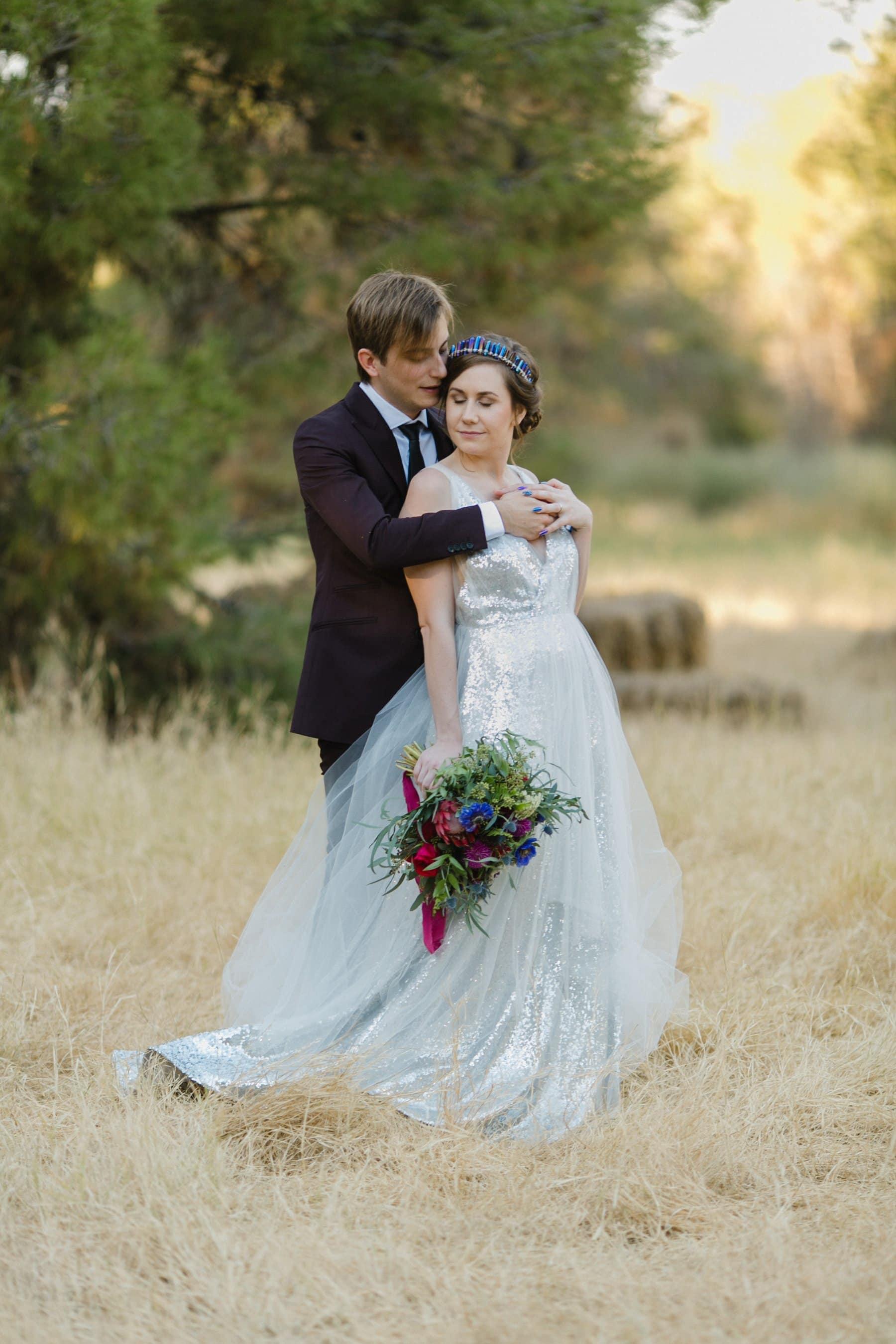the Meadow at Schnepf Farms wedding bride & groom