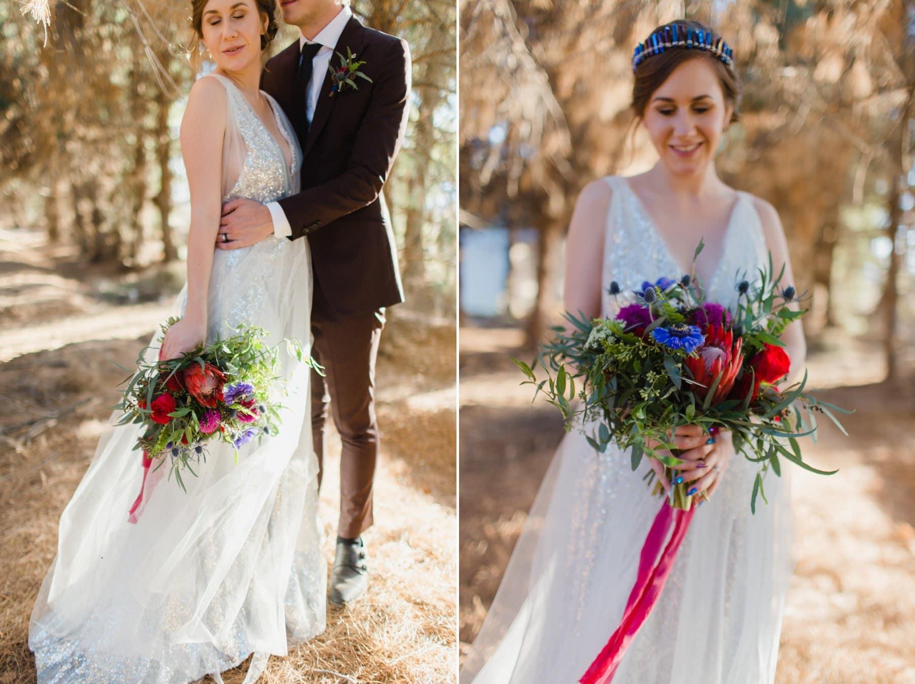 alternative modern wedding at woodsy forest venue Schnepf Farms
