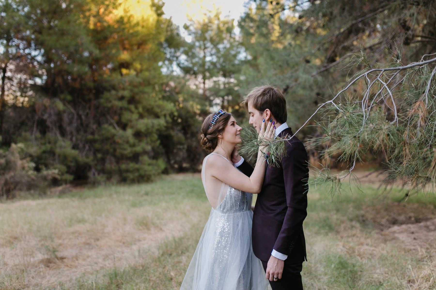 forest wedding Schnepf Farms bride with blue nails and blue crystal tiara sequin dress