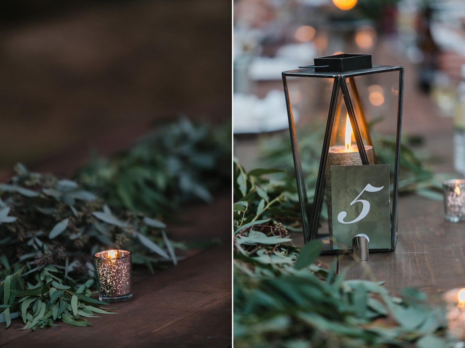 wood farm tables and greenery garland Schnepf Farms boho wedding