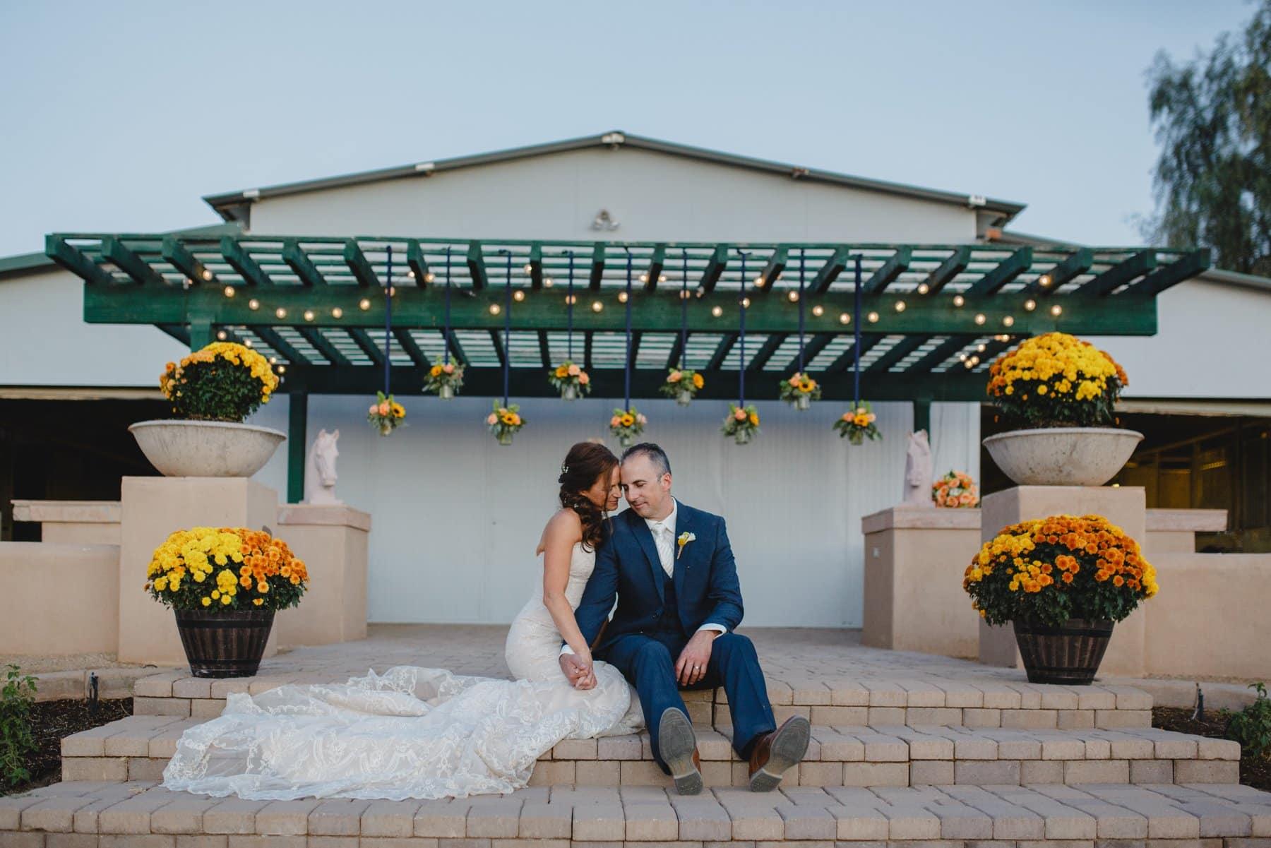 rustic elegant small wedding at a horse barn in Cave Creek, AZ