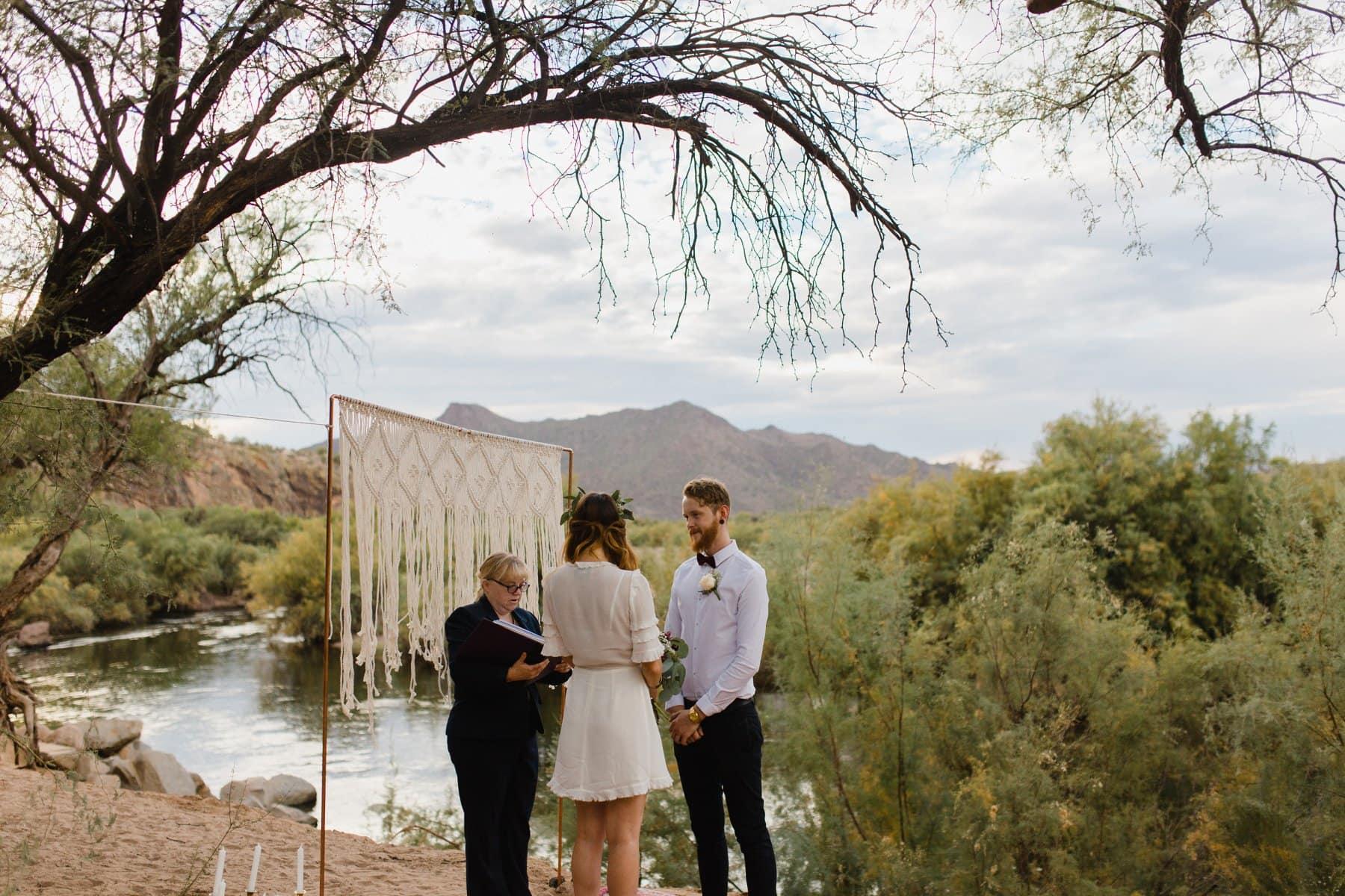scenic outdoor ceremony at Salt River Arizona