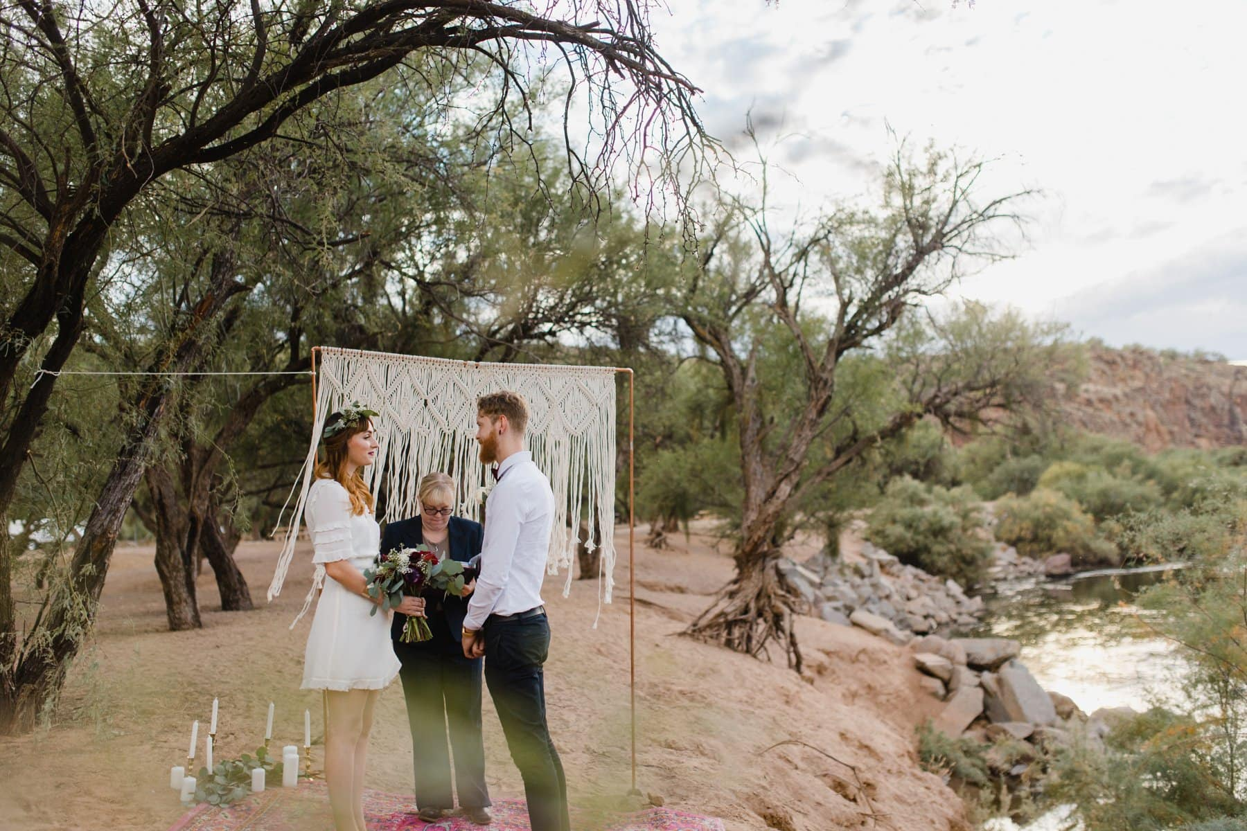 Salt River elopement with macrame ceremony backdrop