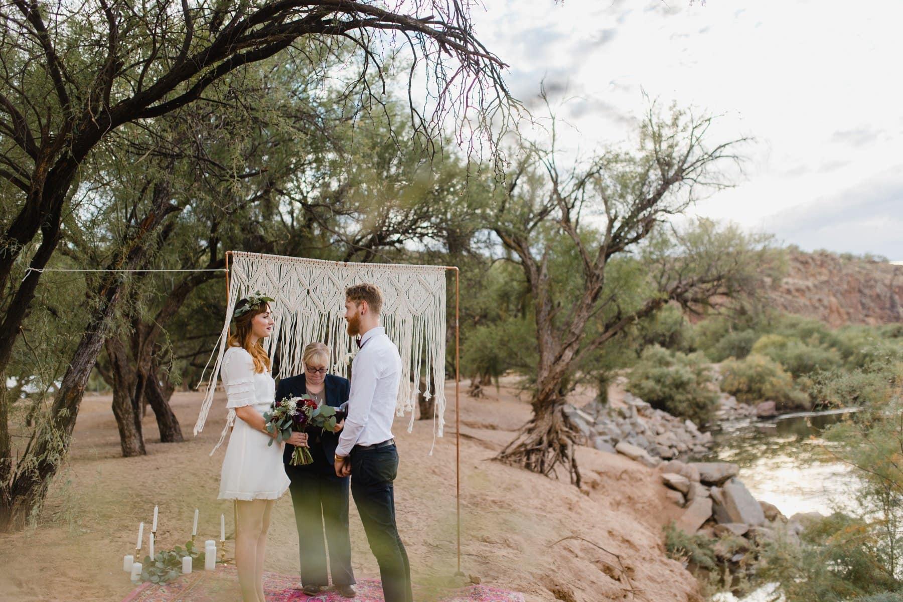 Salt River elopement with macrame ceremony backdrop