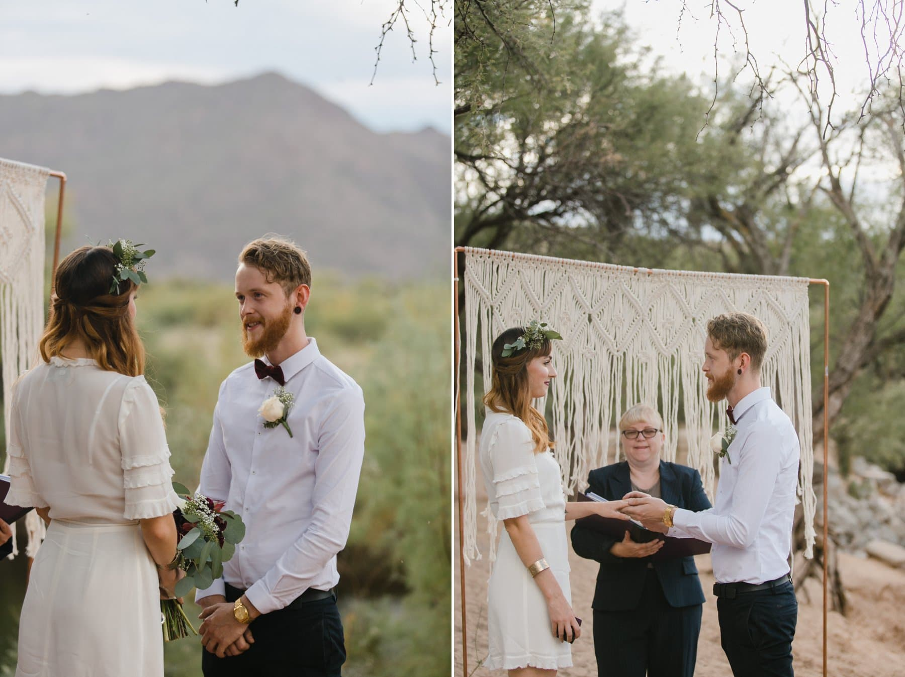 cute boho elopement outdoor ceremony Arizona