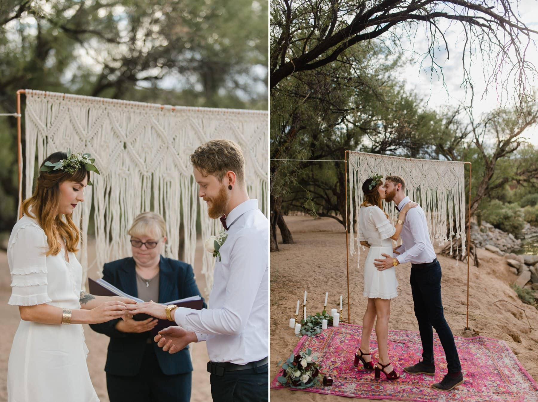 cute boho ceremony Arizona with macrame backdrop and rugs
