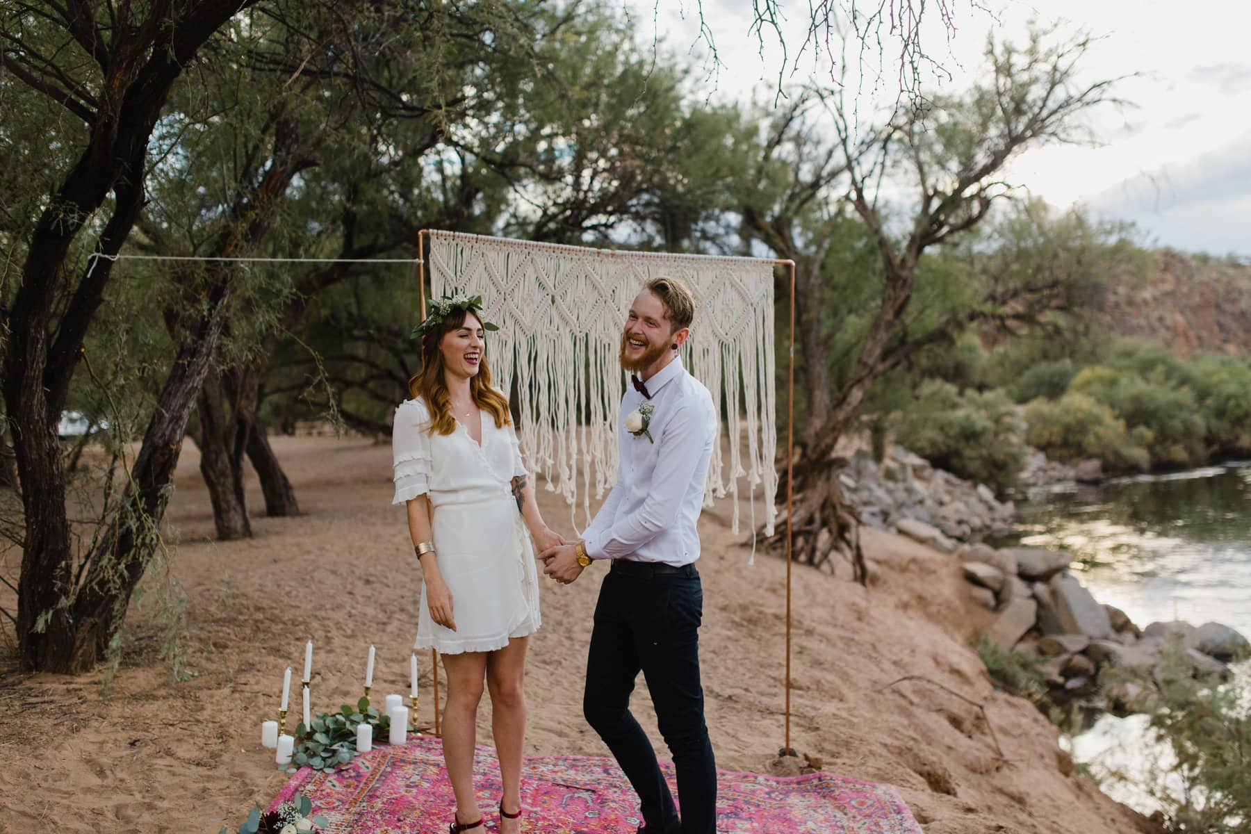 boho elopement Arizona Salt River