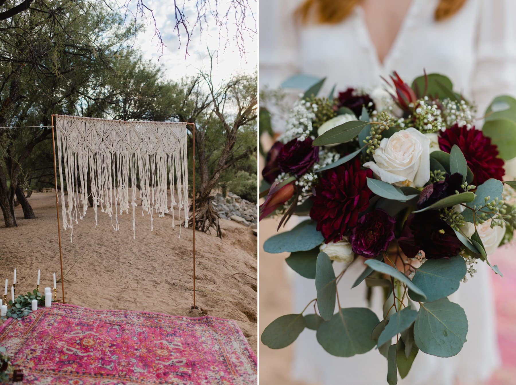 boho elopement in Arizona with macrame backdrop and rugs