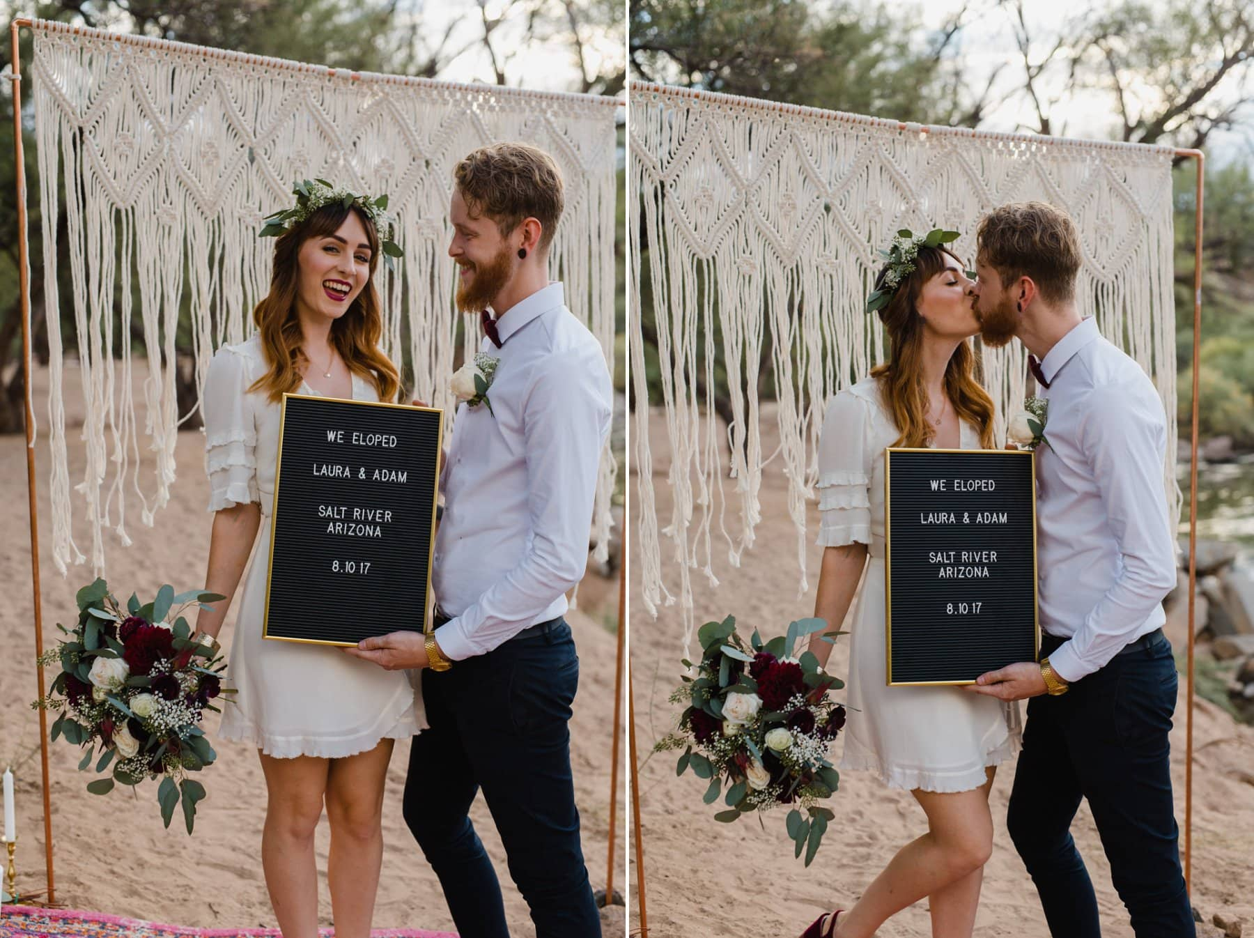 Arizona outdoor elopement along river