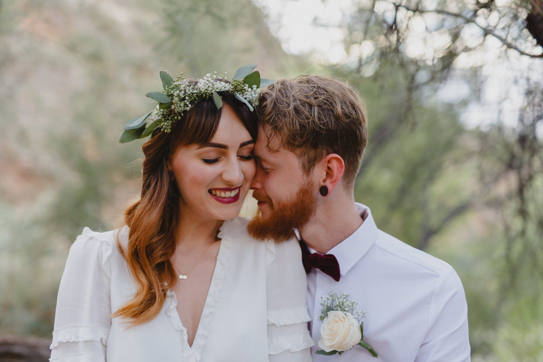 sweet outdoor elopement with flower crown