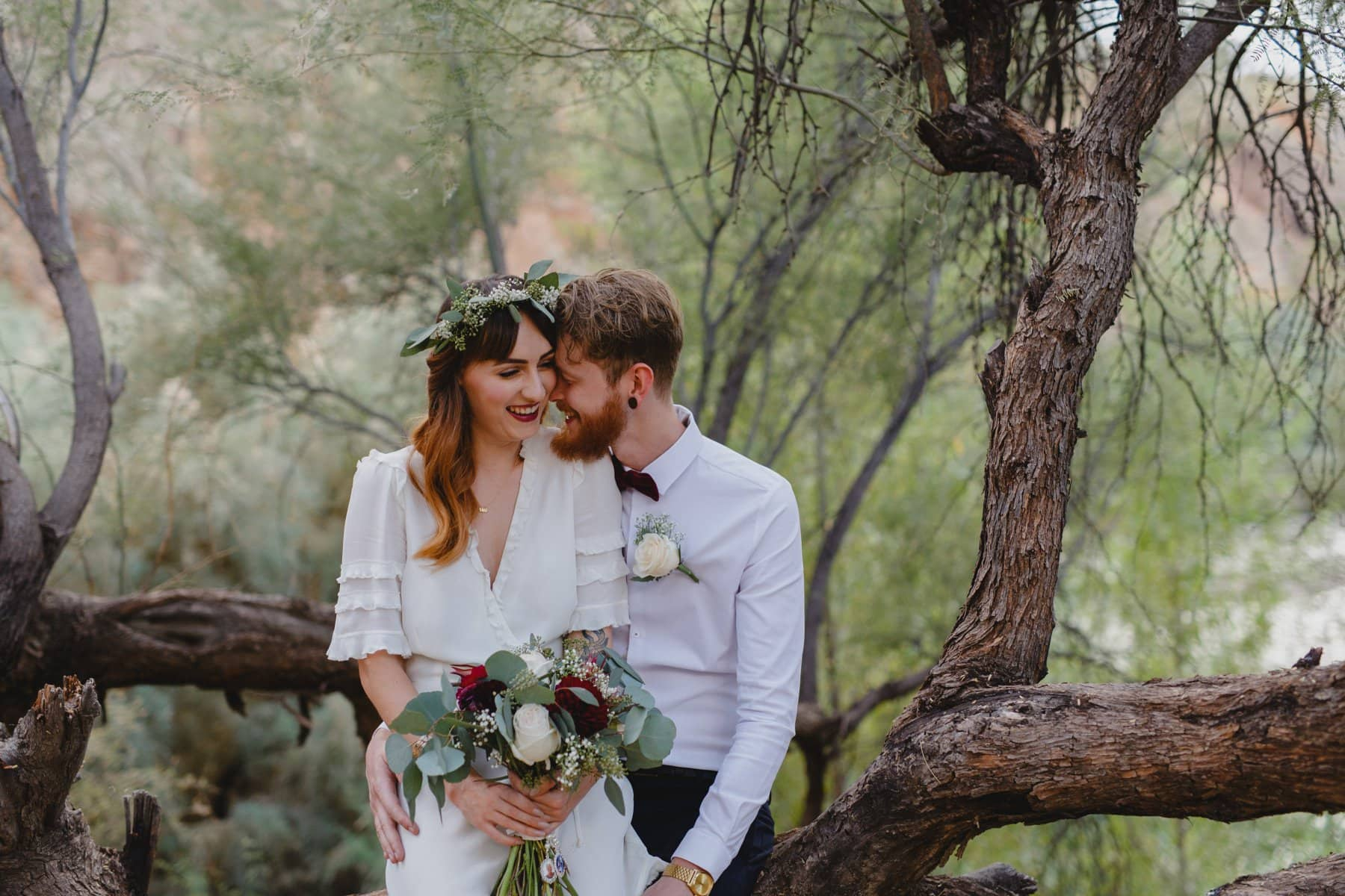 outdoor forest elopement in Phoenix
