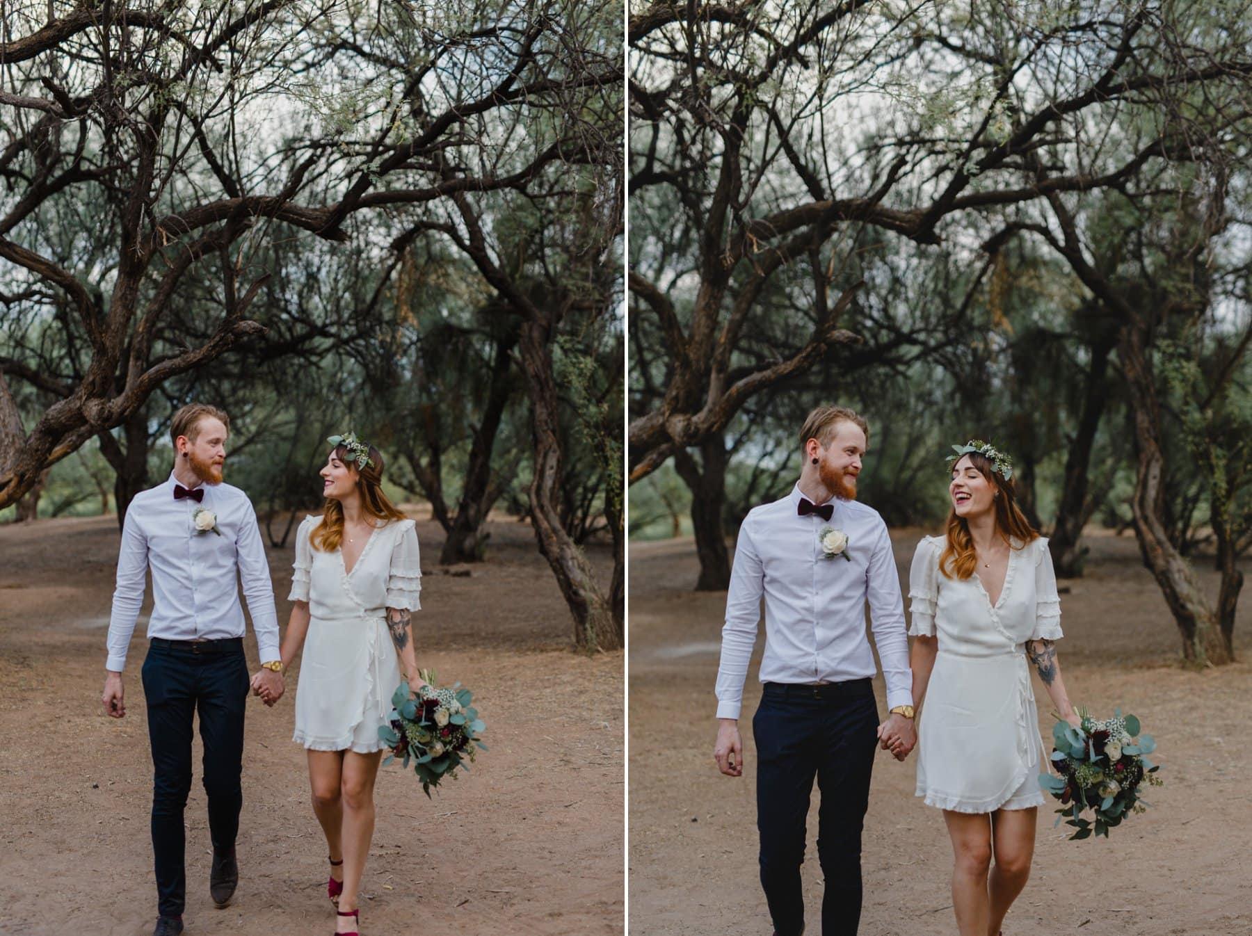 cute boho elopement in mesquite trees