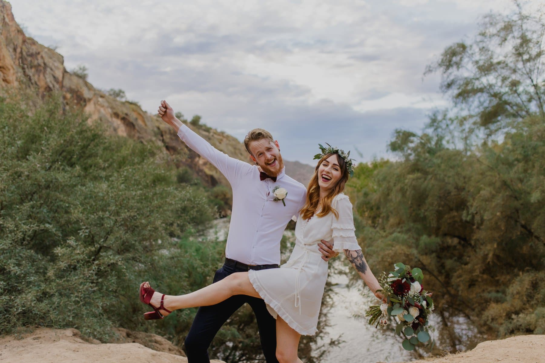 cute boho couple elopement Arizona