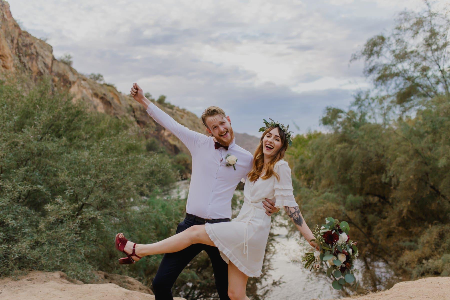 cute boho couple elopement Arizona