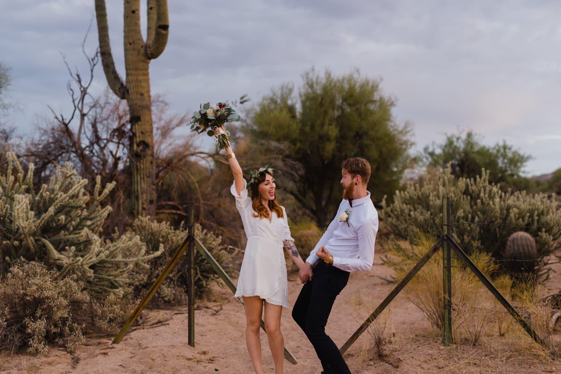 joyful cute outdoor elopement in the desert Arizona