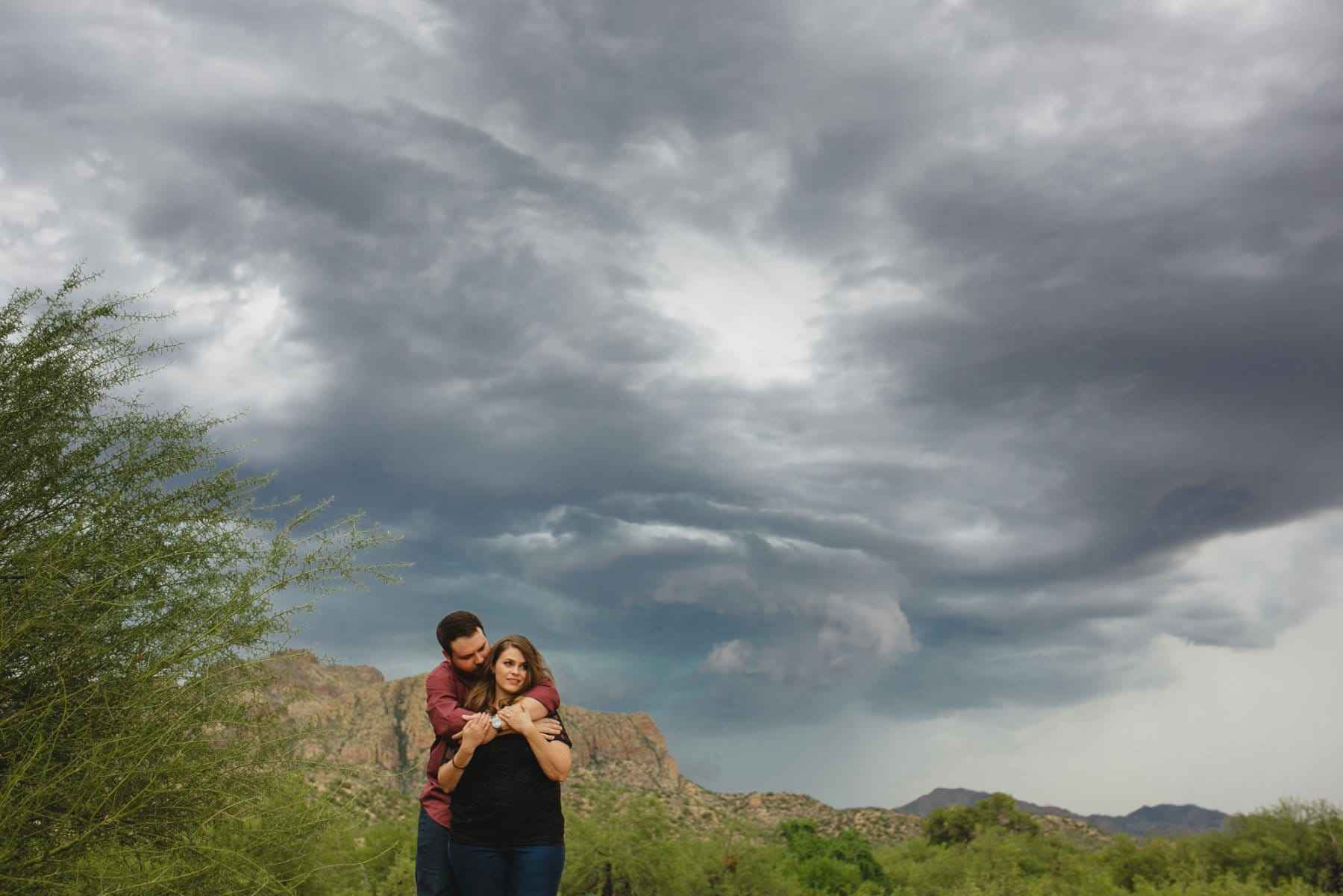 stormy monsoon engagement photo at Salt River Arizona