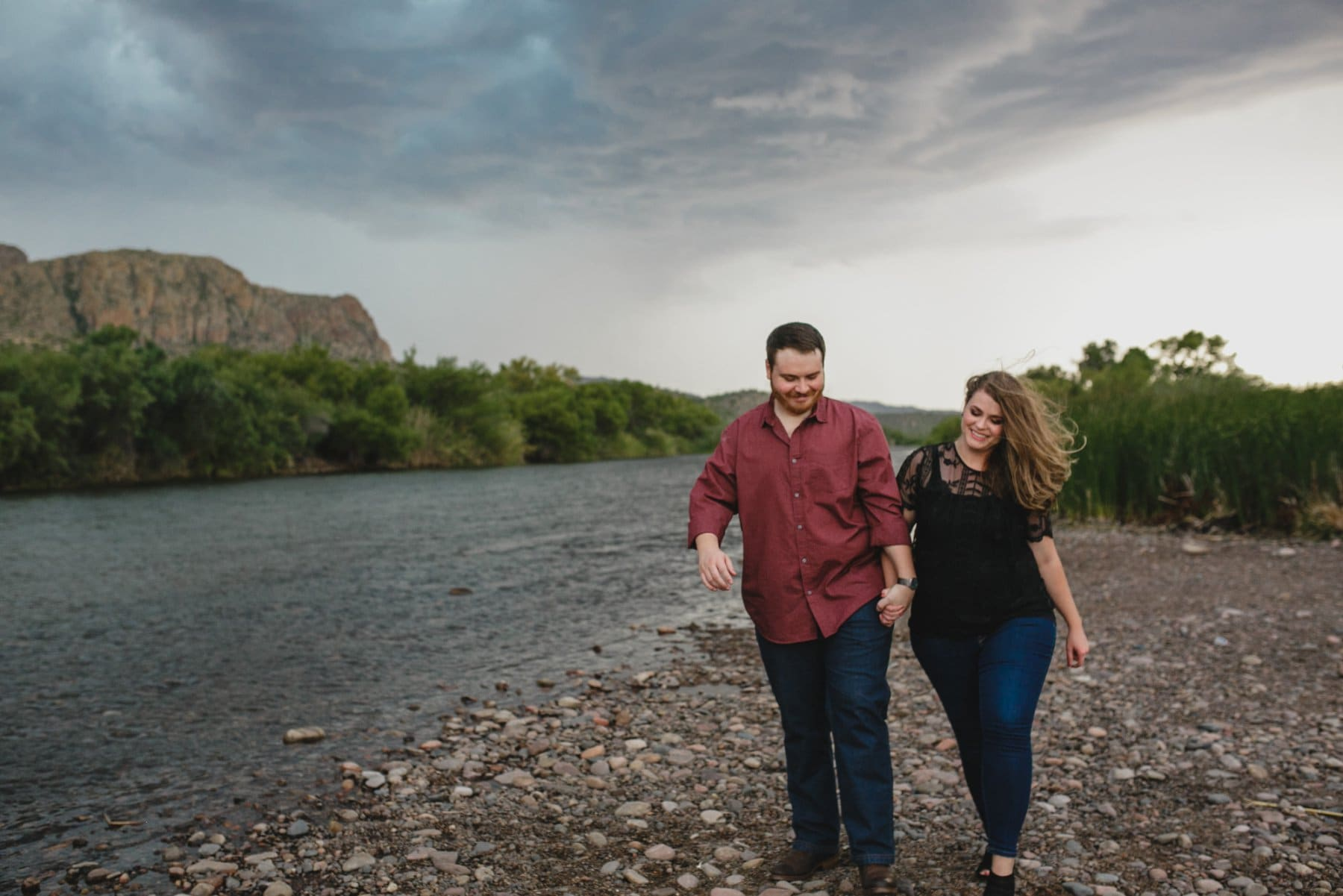 engagement photos in a monsoon storm in Arizona