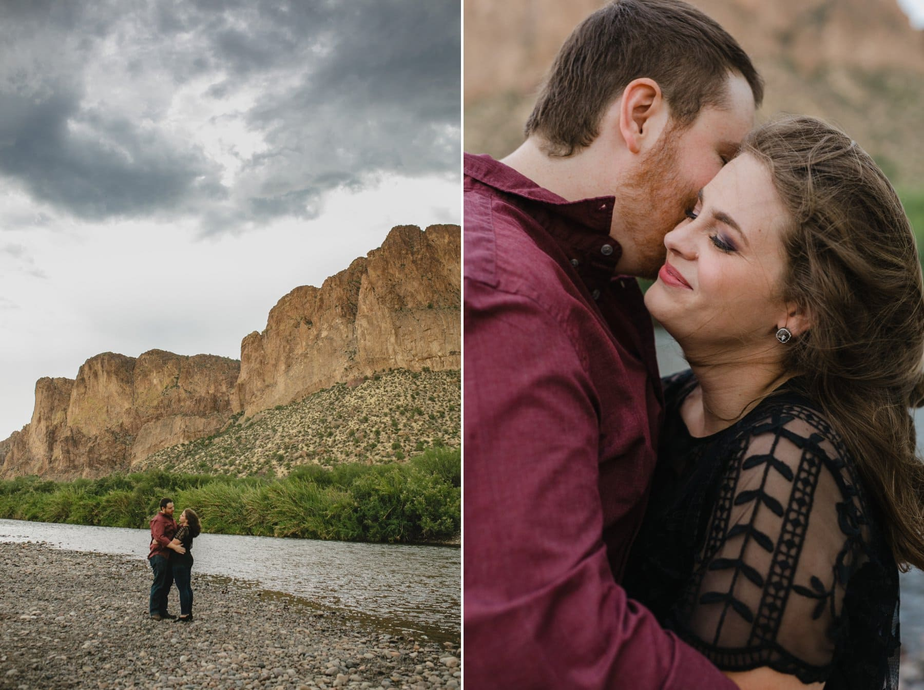 stormy engagement photos at the Salt River
