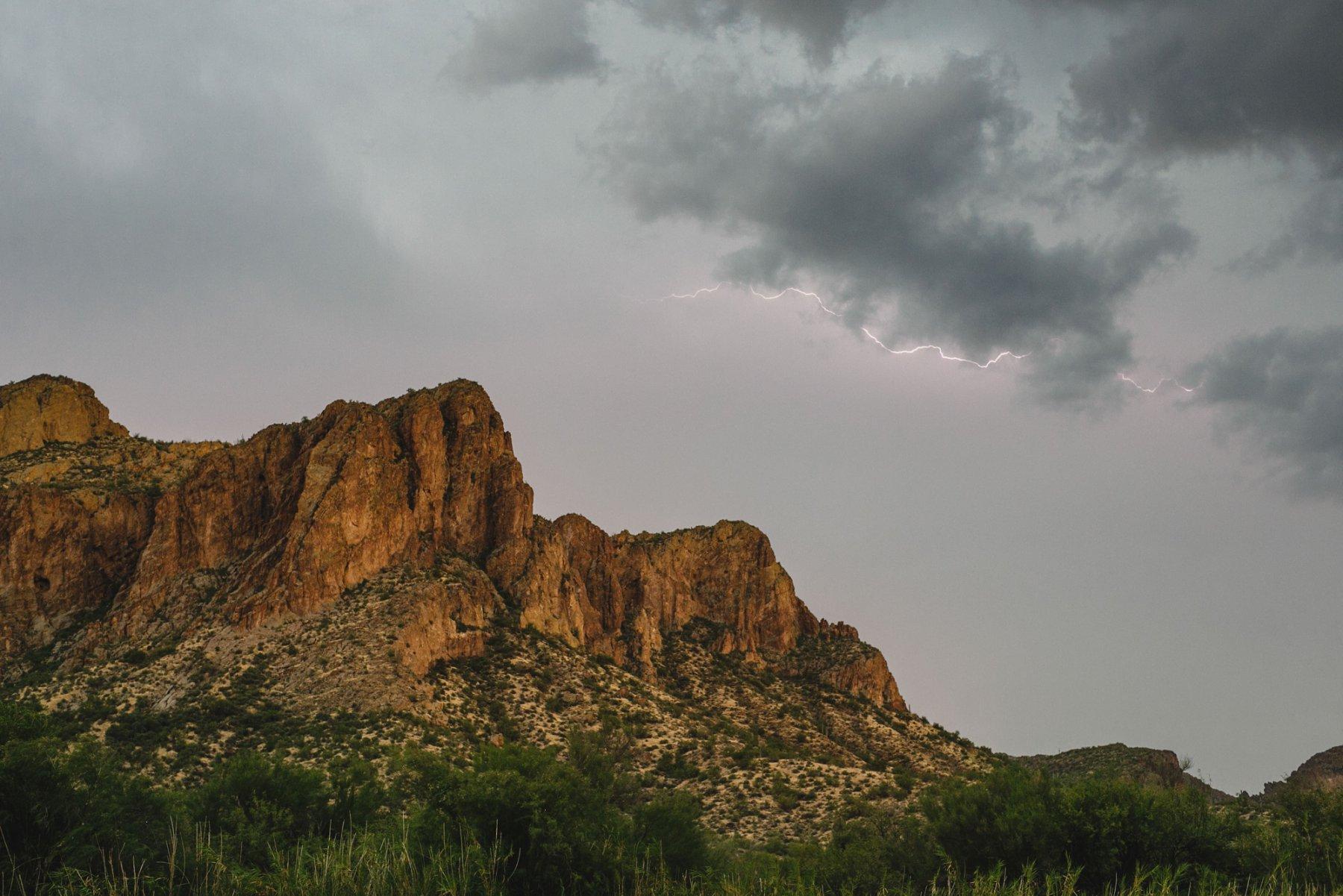 storm with lightning over Salt River Bulldog Mountains
