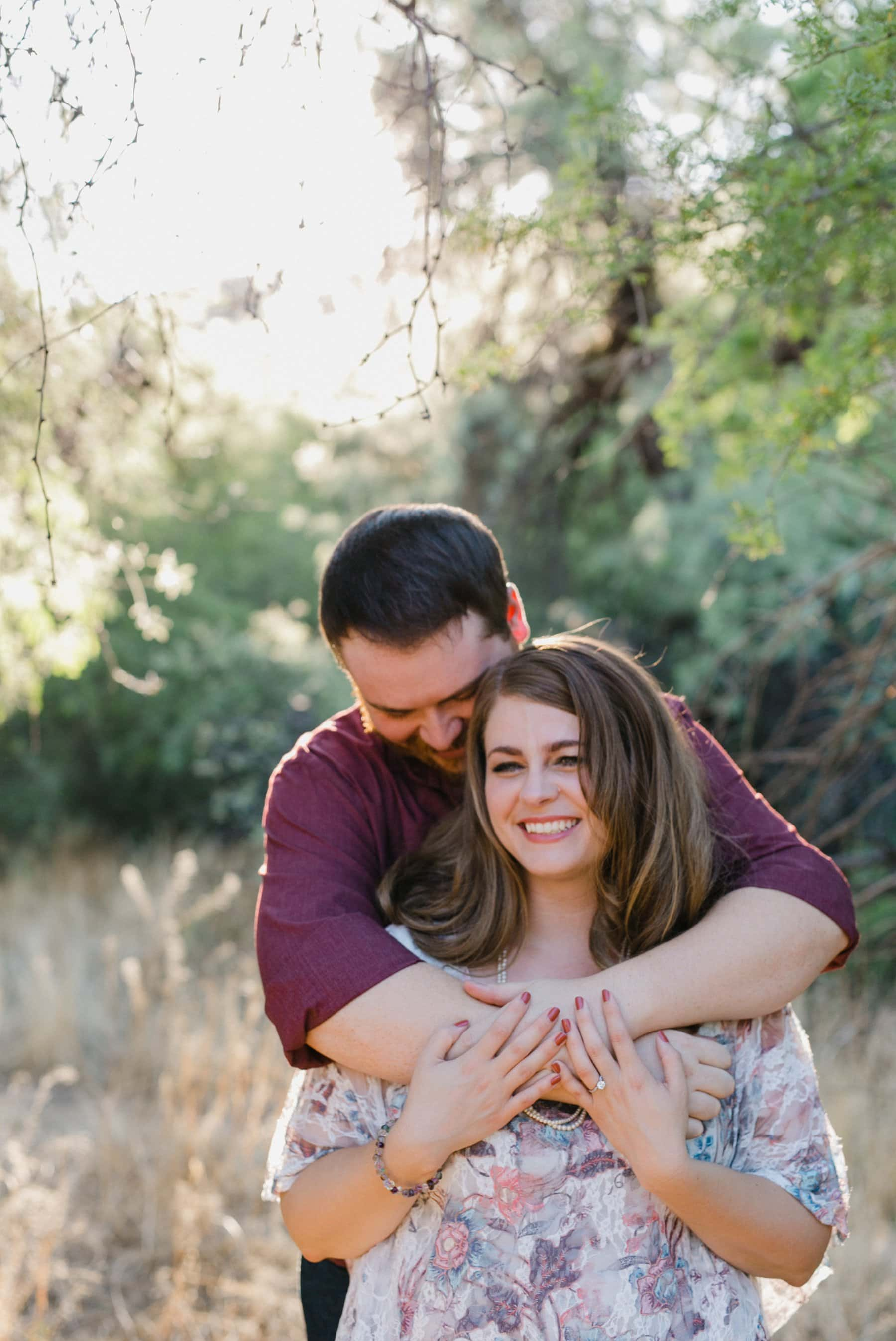 engagement photos with trees in Phoenix