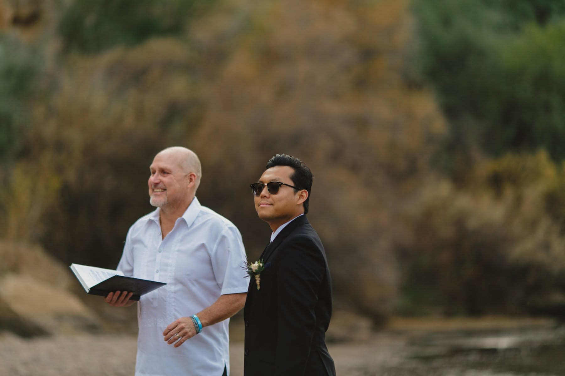 outdoor Salt River small wedding groom seeing bride