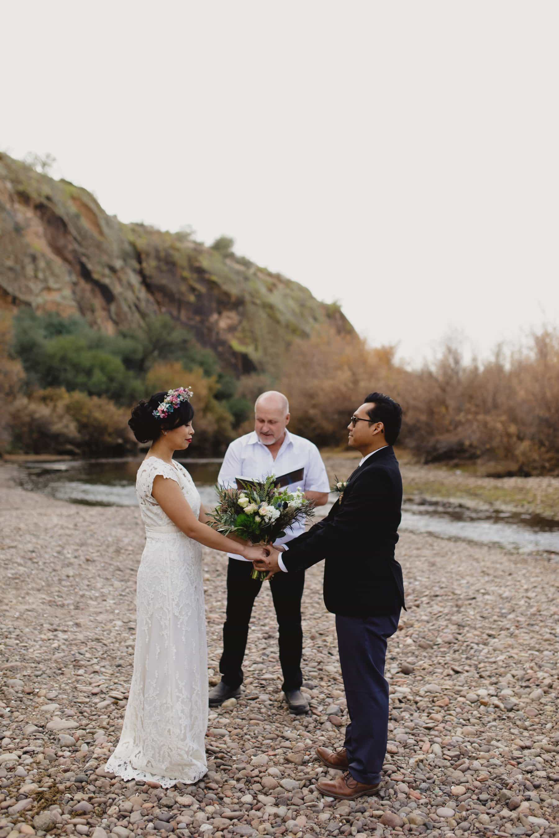 Salt River winter wedding on riverbed Arizona