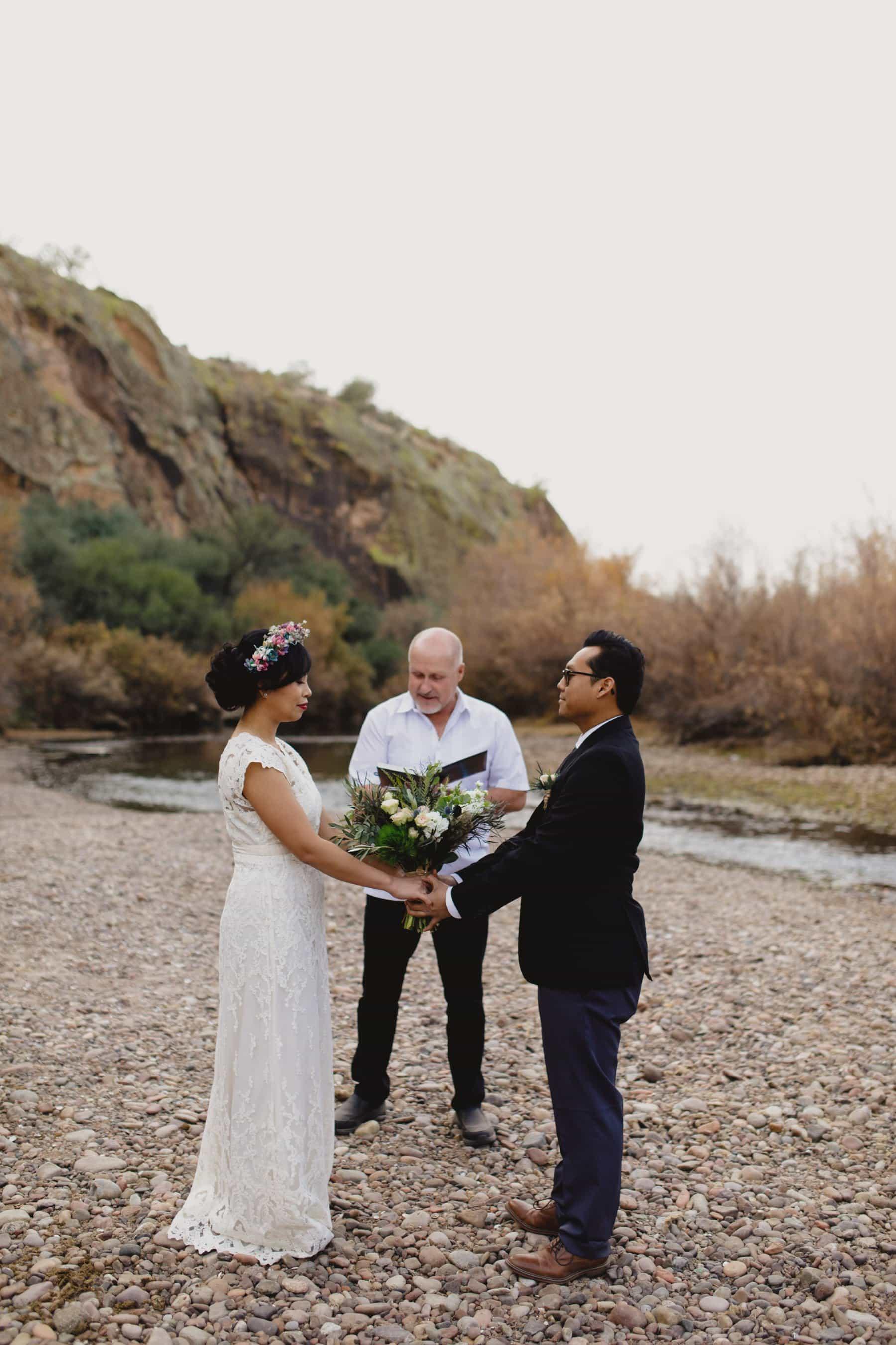 Salt River winter wedding on riverbed Arizona