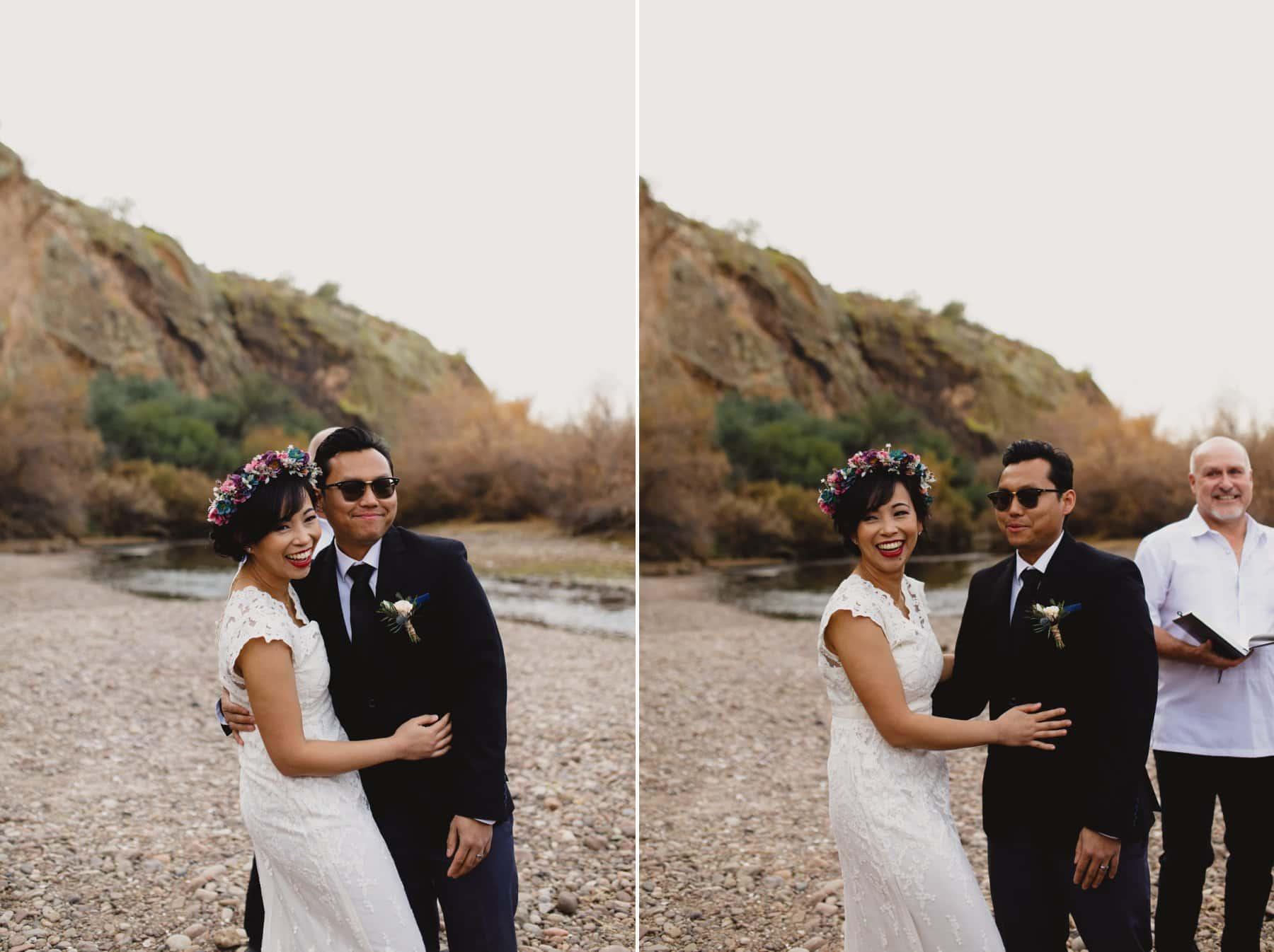 wedding ceremony at Salt River in winter in Arizona