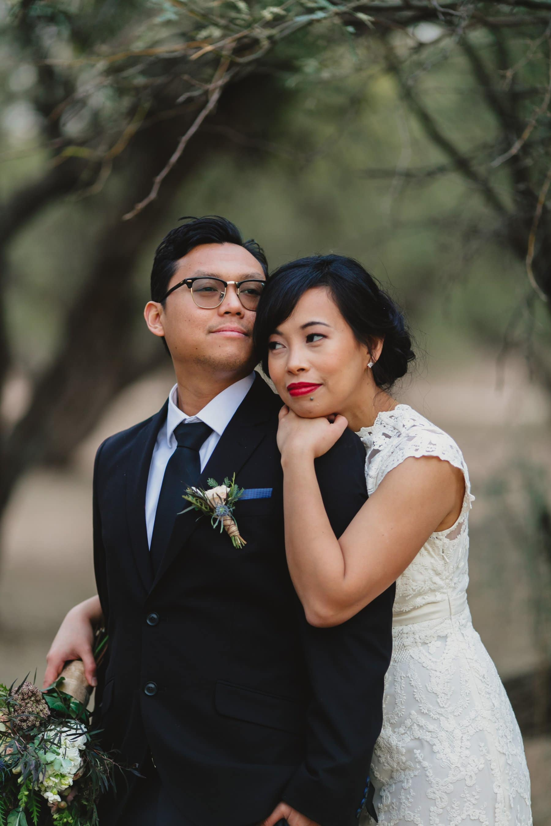 bride and groom outdoor wedding photos Arizona