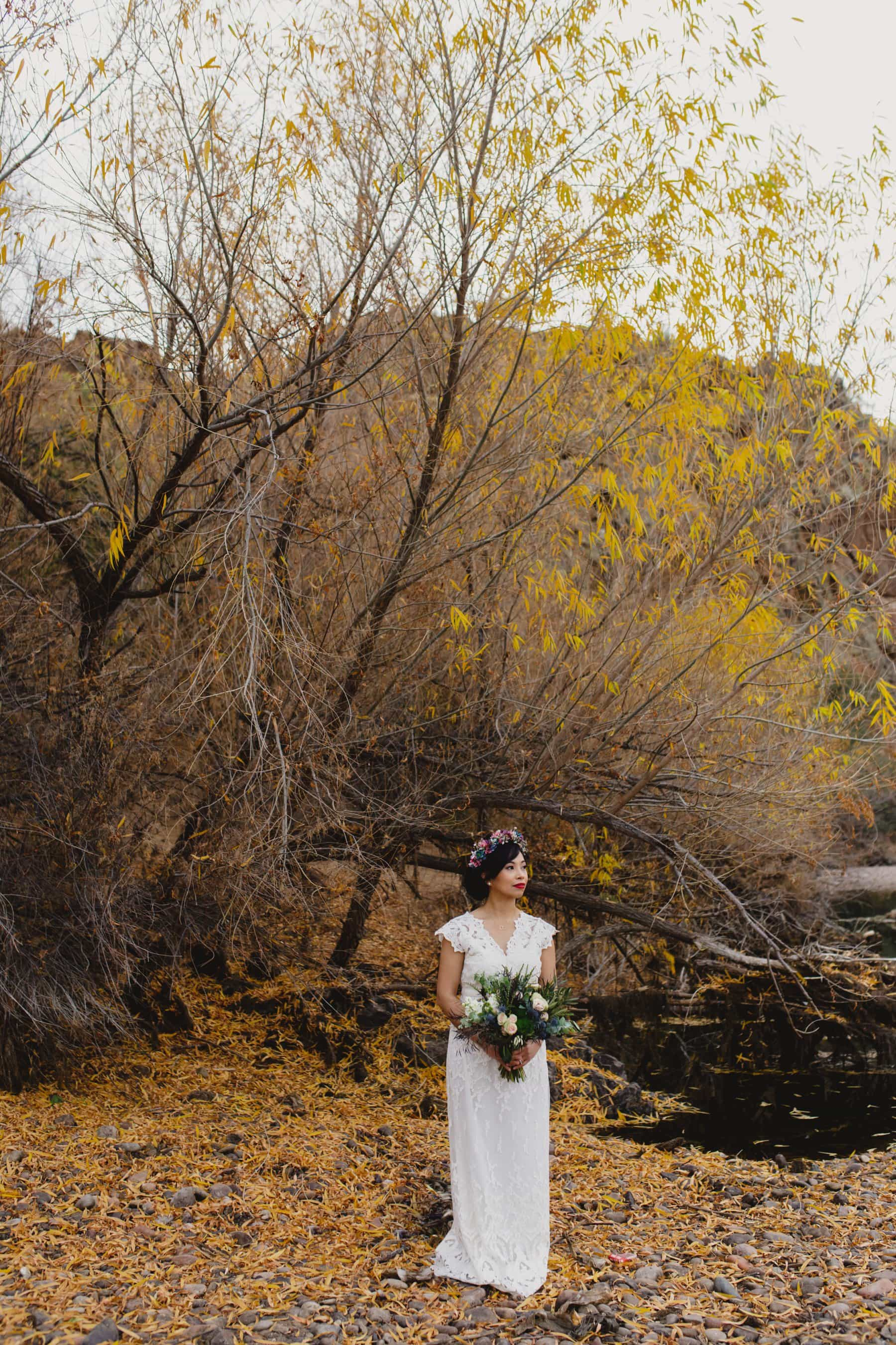 winter wedding fall leaves Salt River Arizona