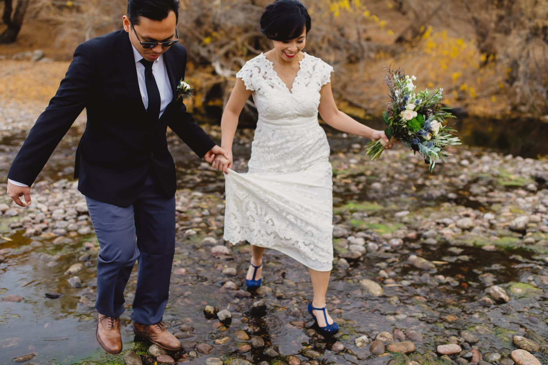 boho wedding elopement in Arizona with river