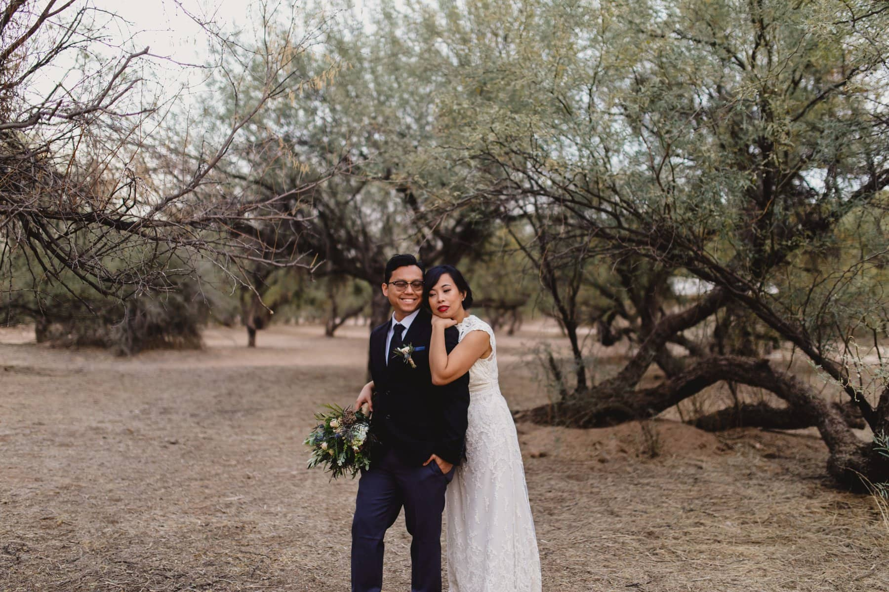 bride and groom at Salt River