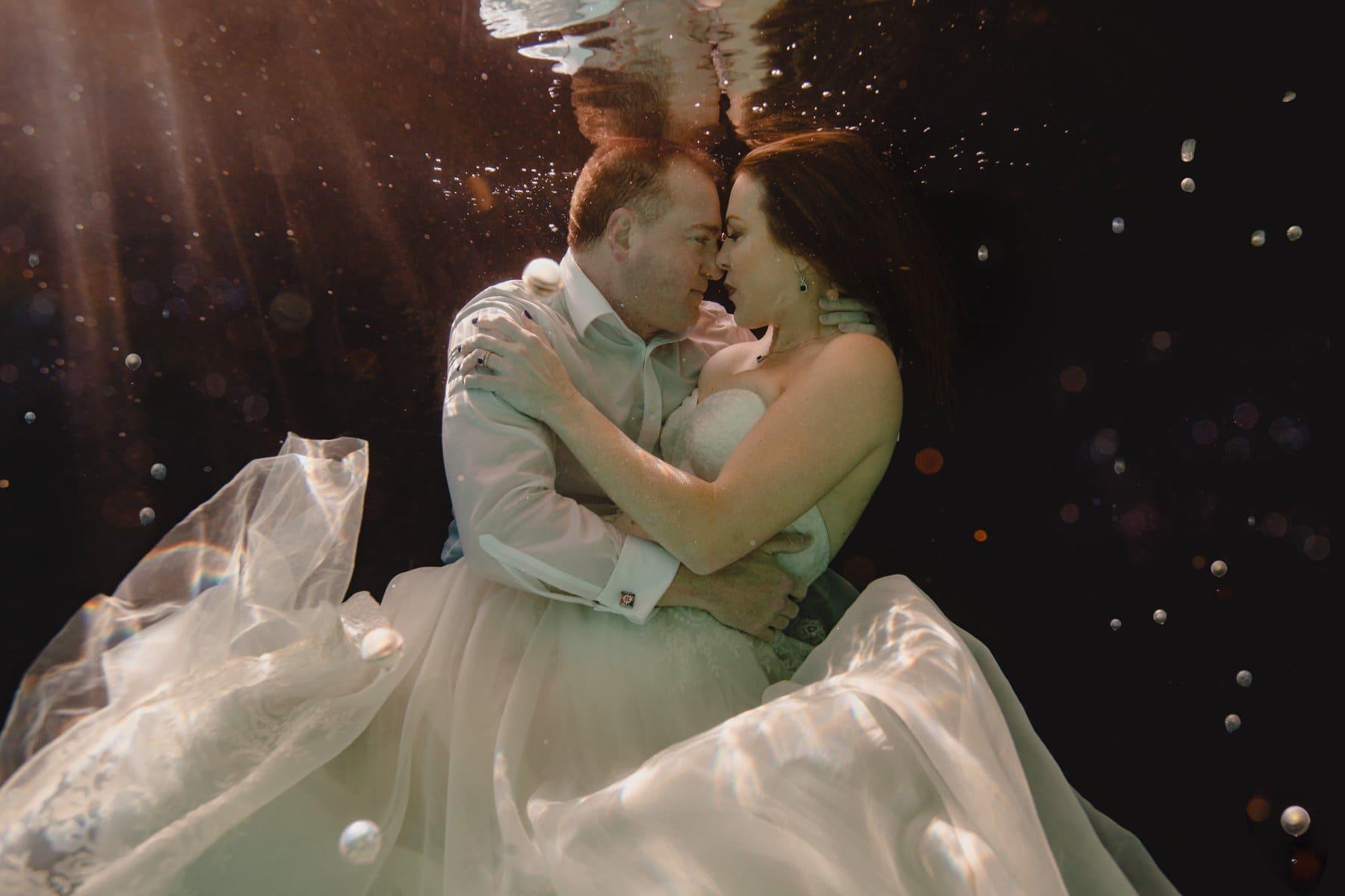 unique creative underwater wedding dress photos Arizona