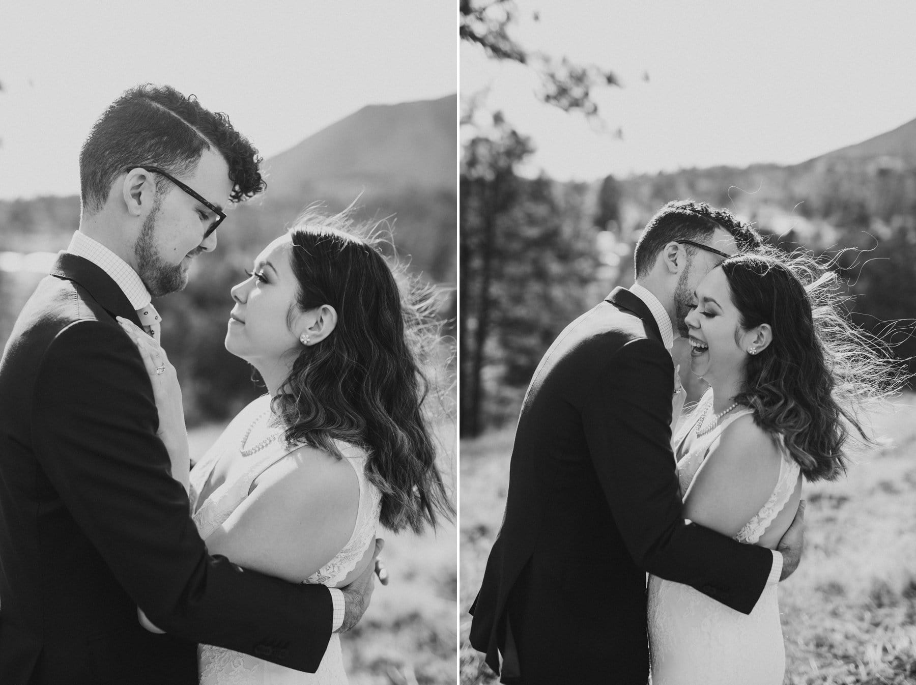 Flagstaff elopement cute candid photos