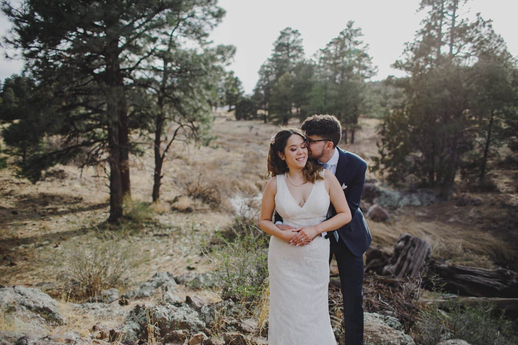 sweet elopement in Flagstaff with pine trees