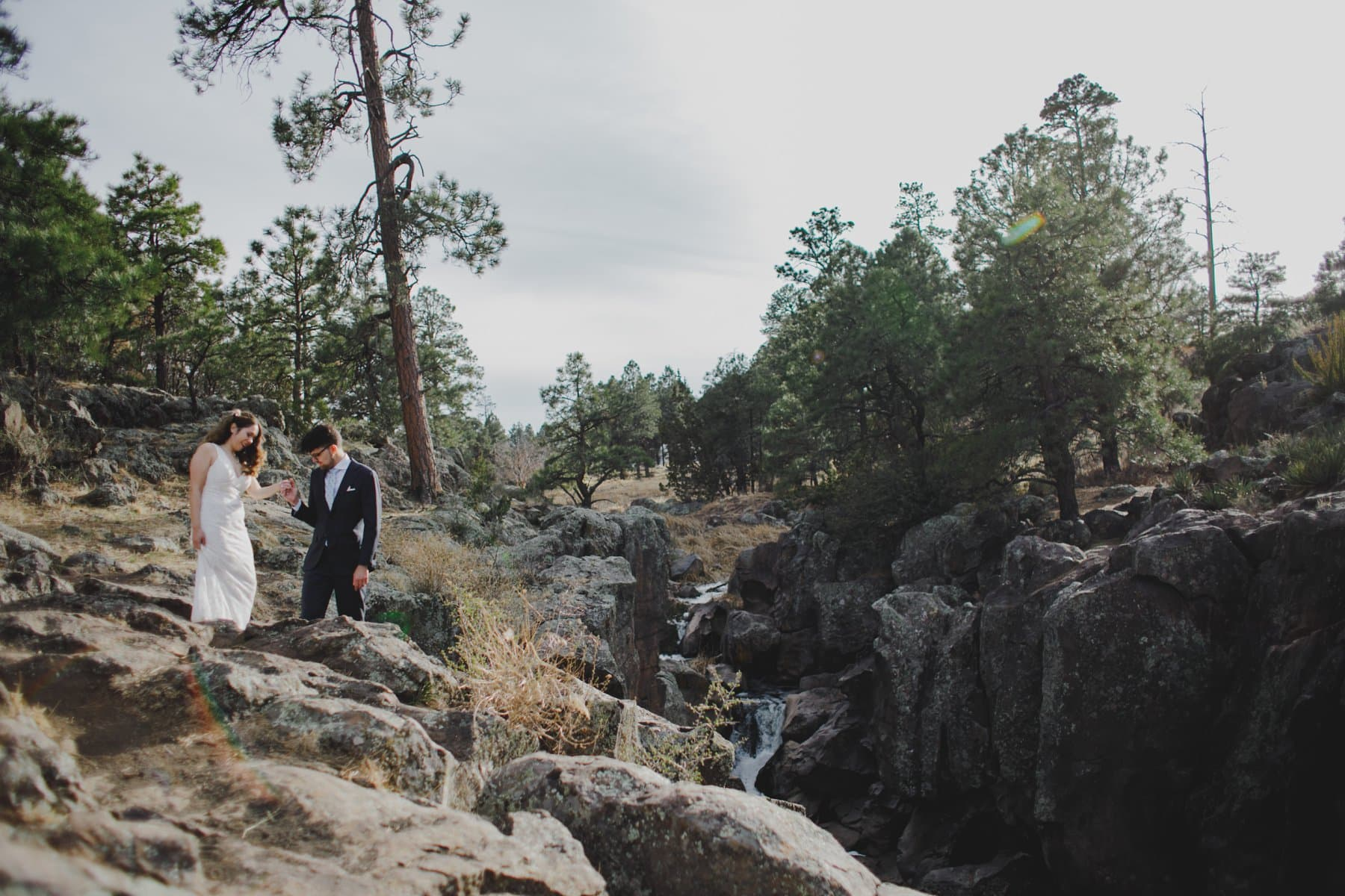 epic Flagstaff waterfall elopement location