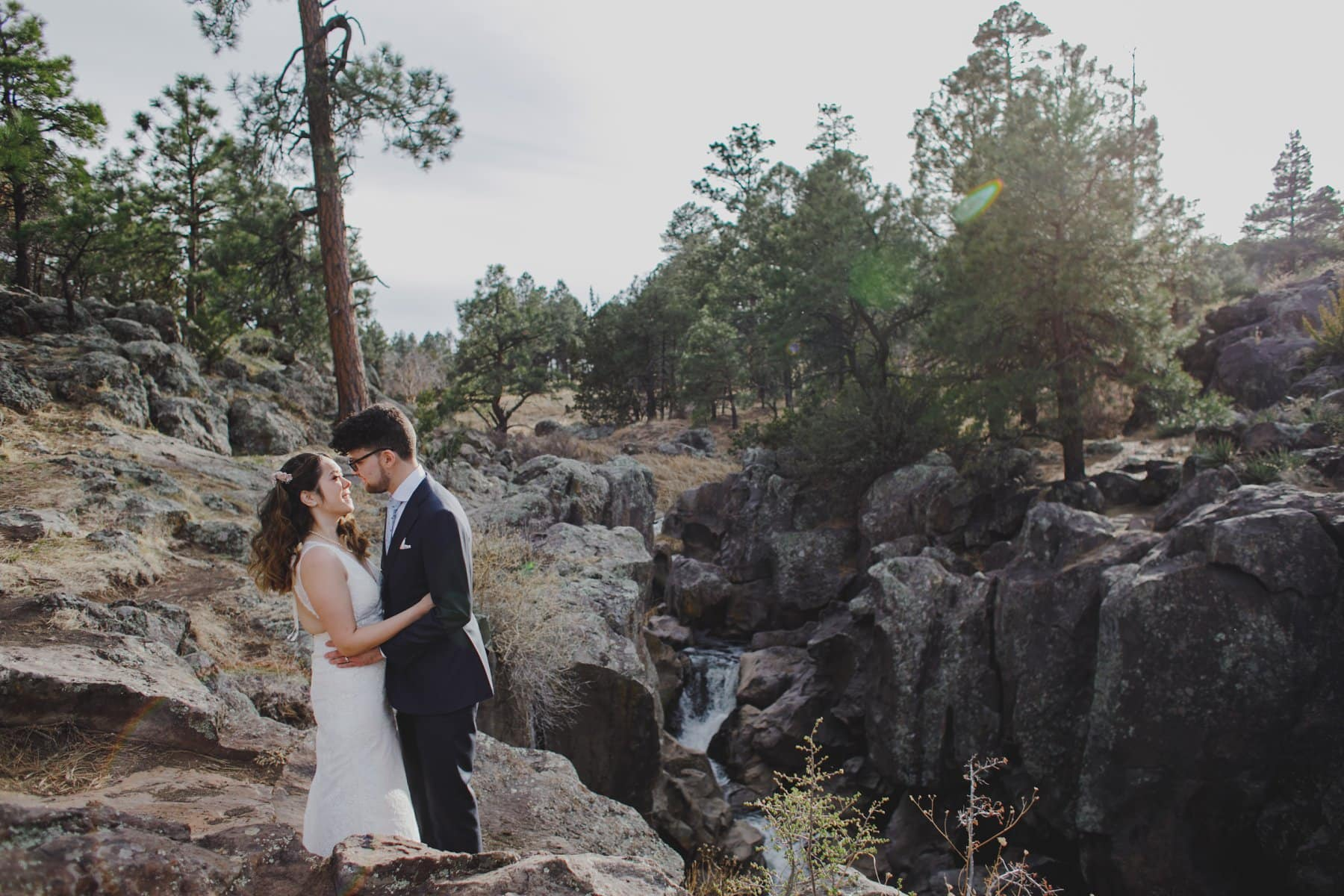 Flagstaff elopement with waterfall