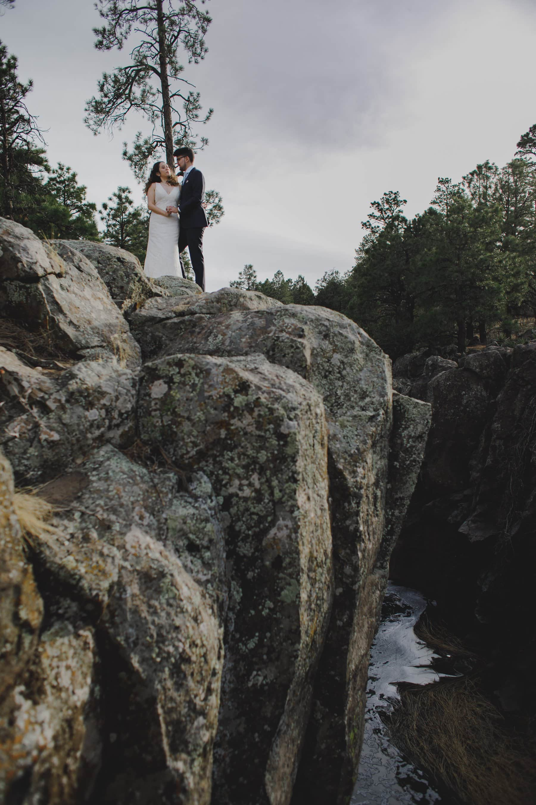 adventurous Flagstaff elopement cliff