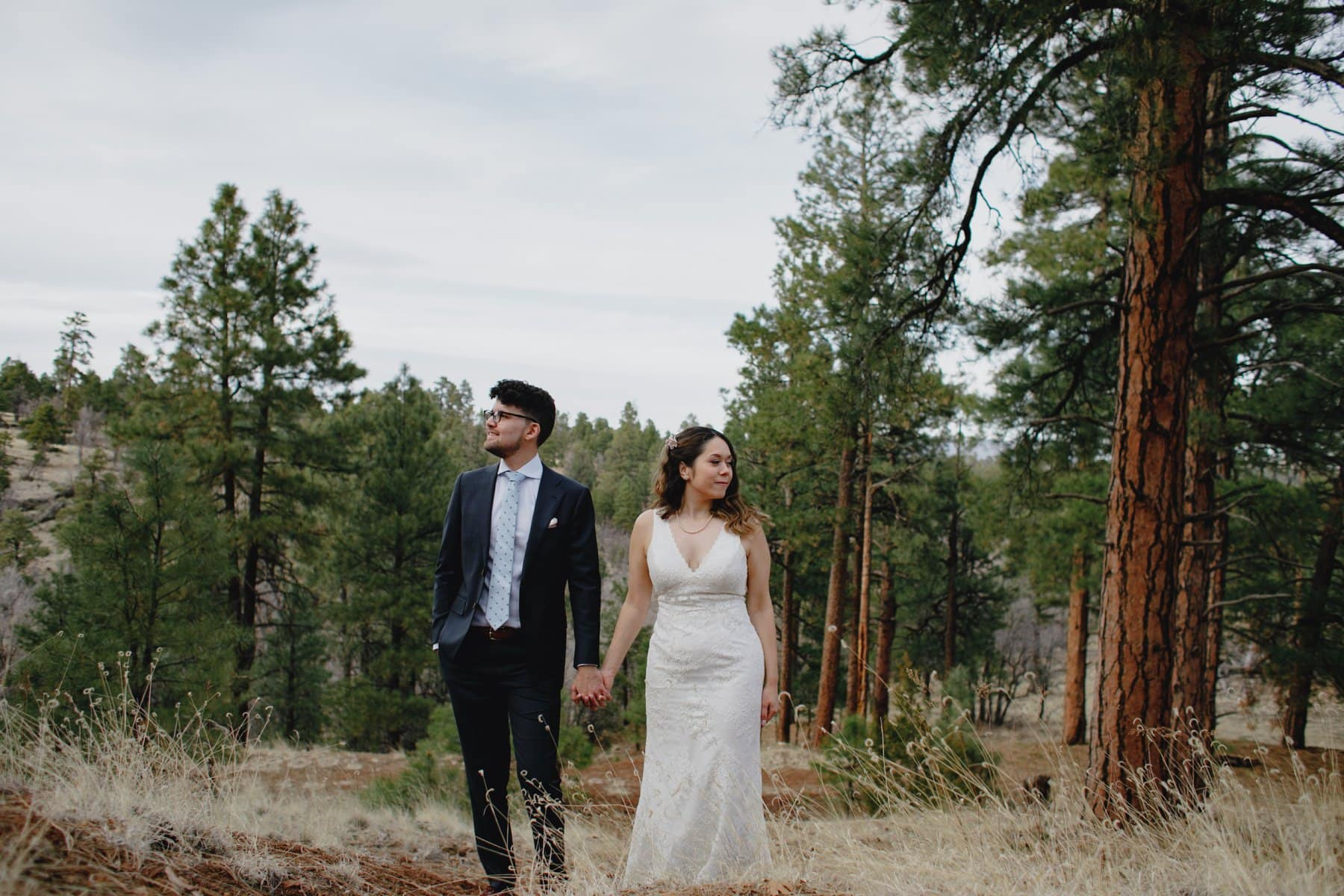 Flagstaff elopement in pine forest