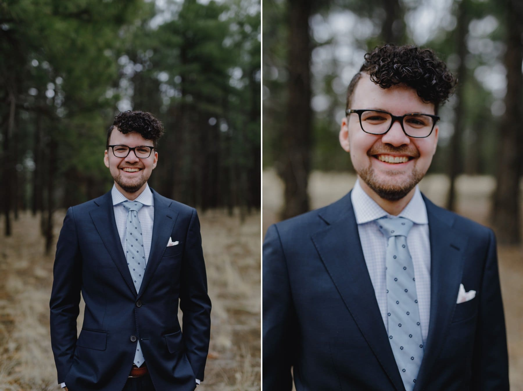 stylish groom with glasses Flagstaff elopement