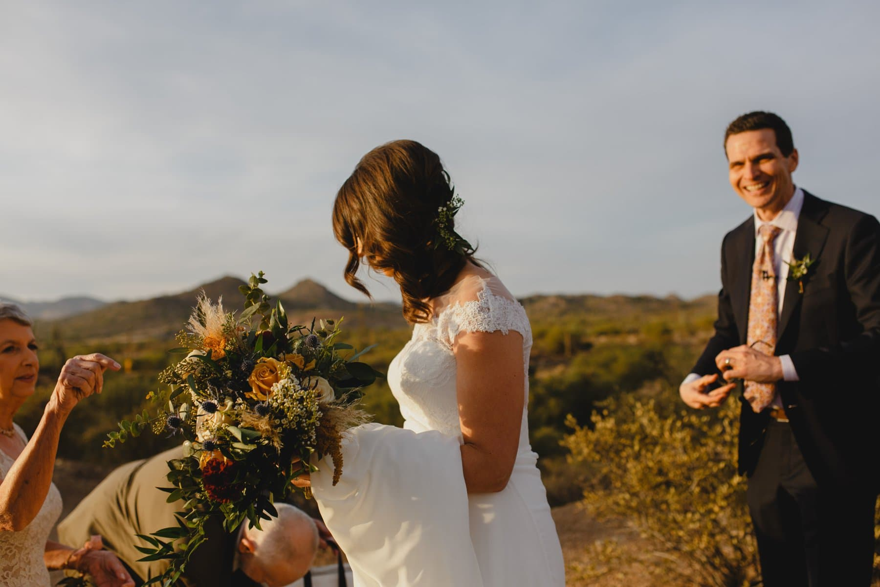 documentary candid elopement photos Arizona Superstition mountains at sunset