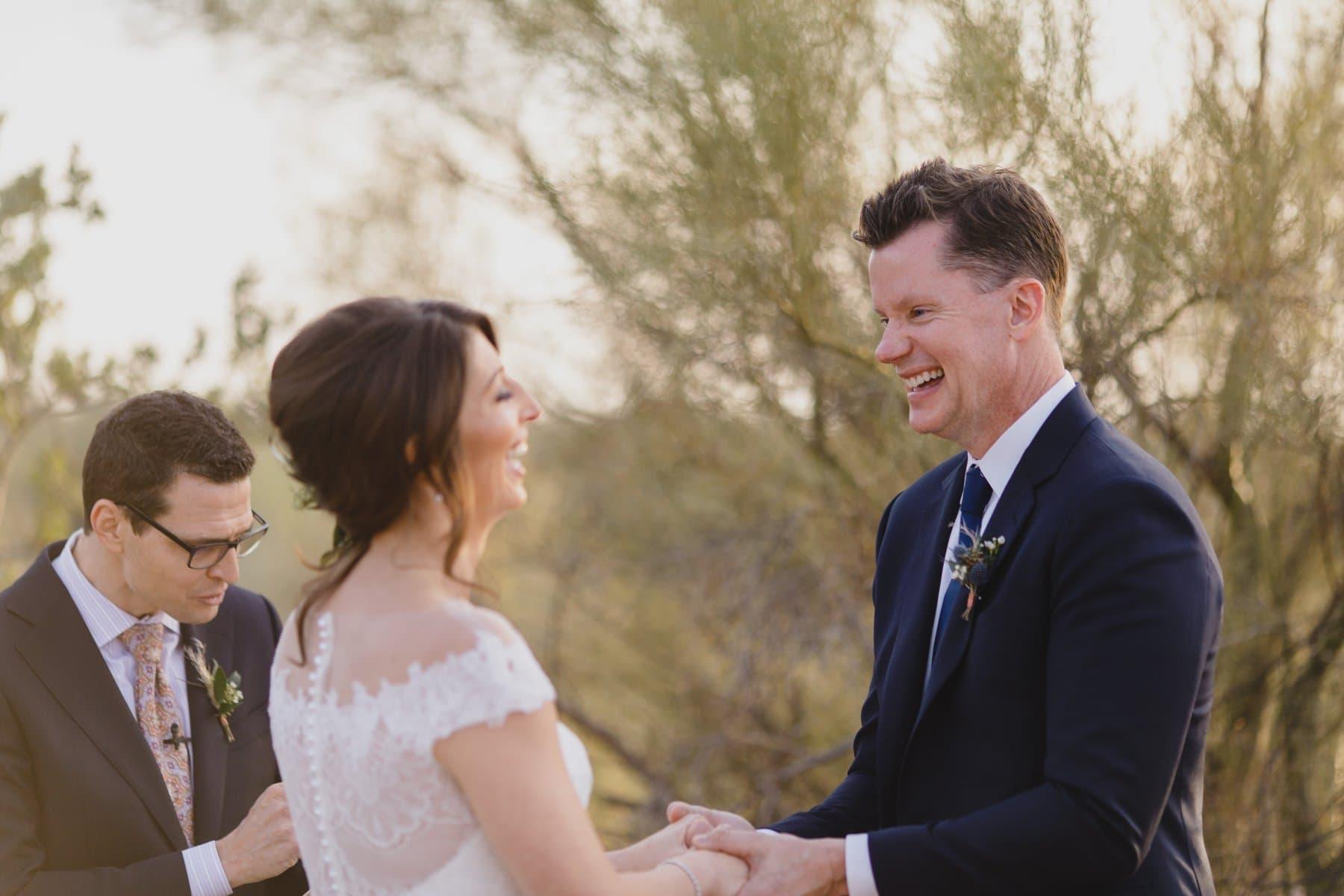 candid moment in elopement in Arizona desert