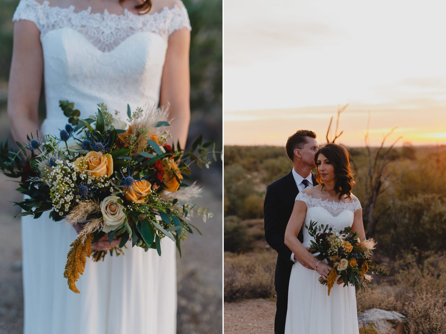 sunset elopement at Superstition Mountains