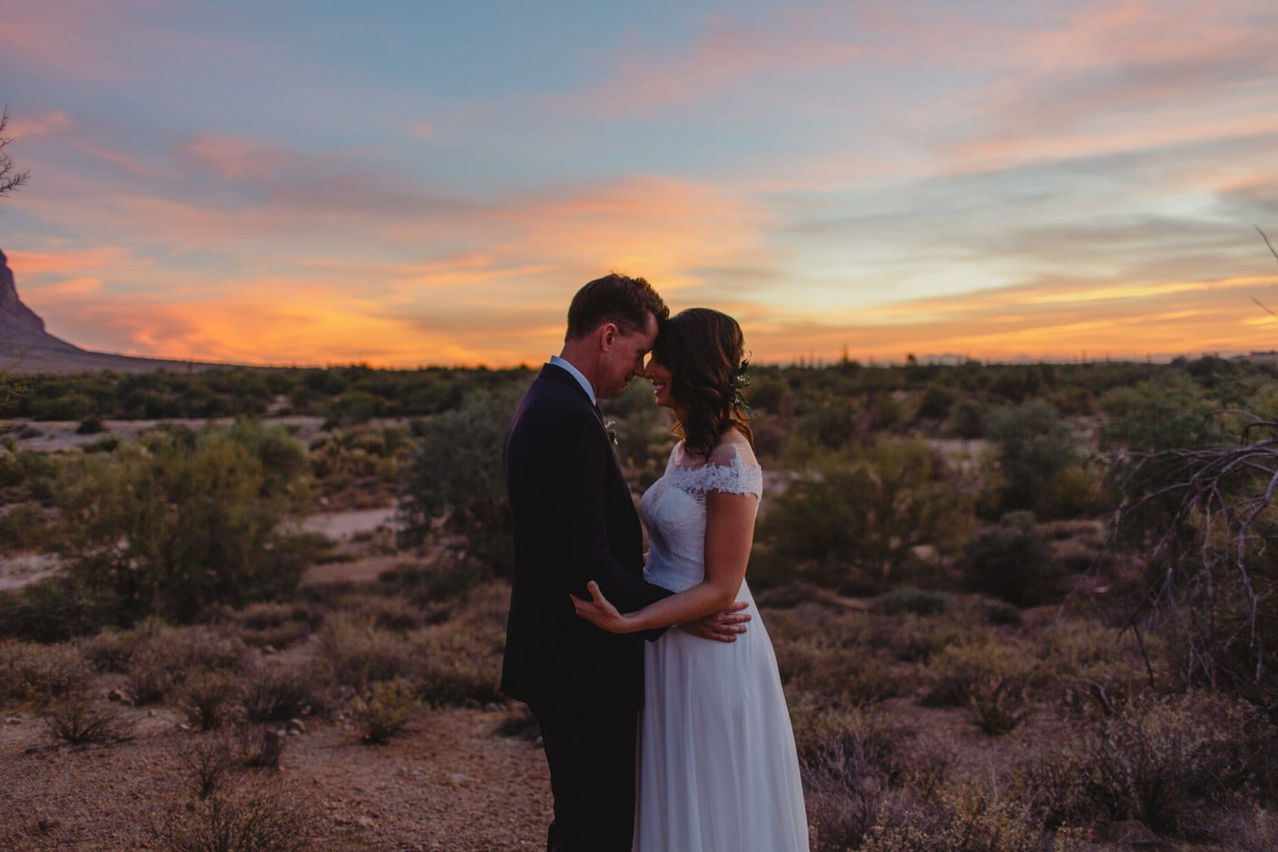 Arizona sunset elopement beautiful clouds
